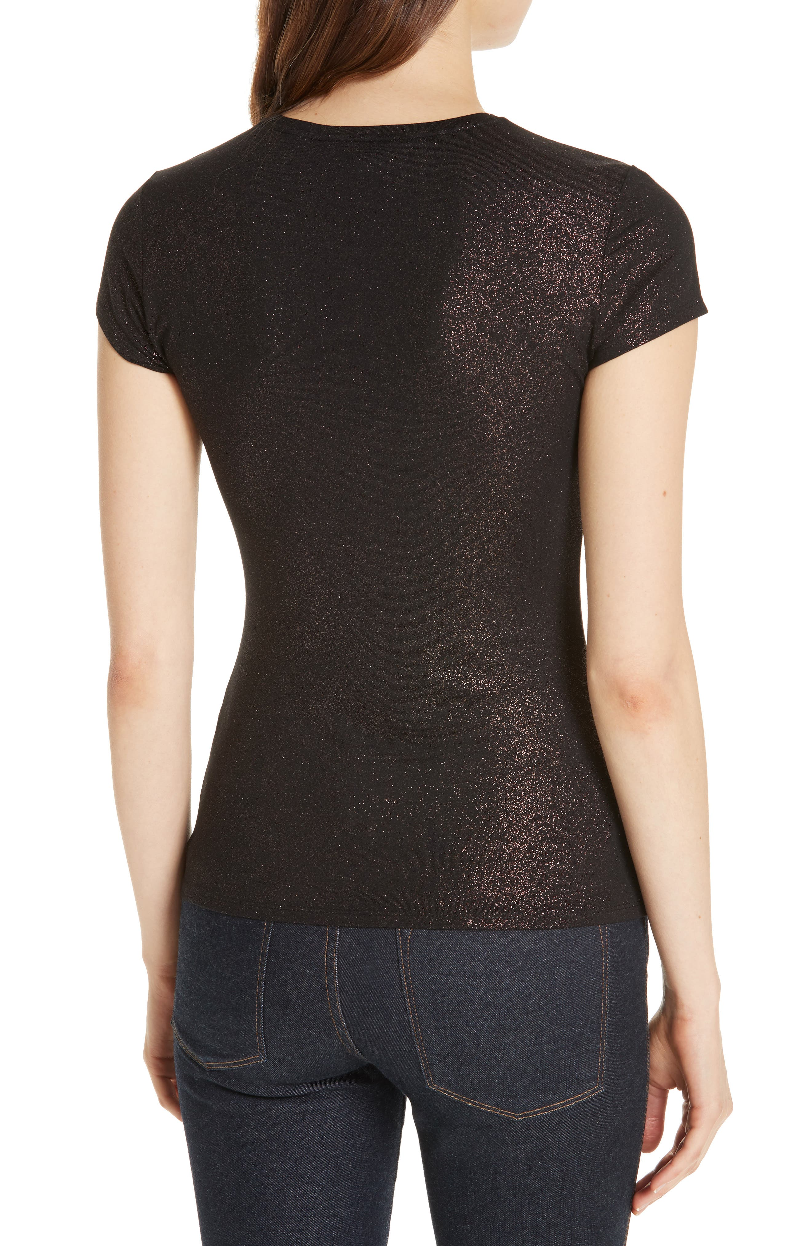 Amander Shimmer Fitted Tee,                             Alternate thumbnail 2, color,                             DARK BROWN
