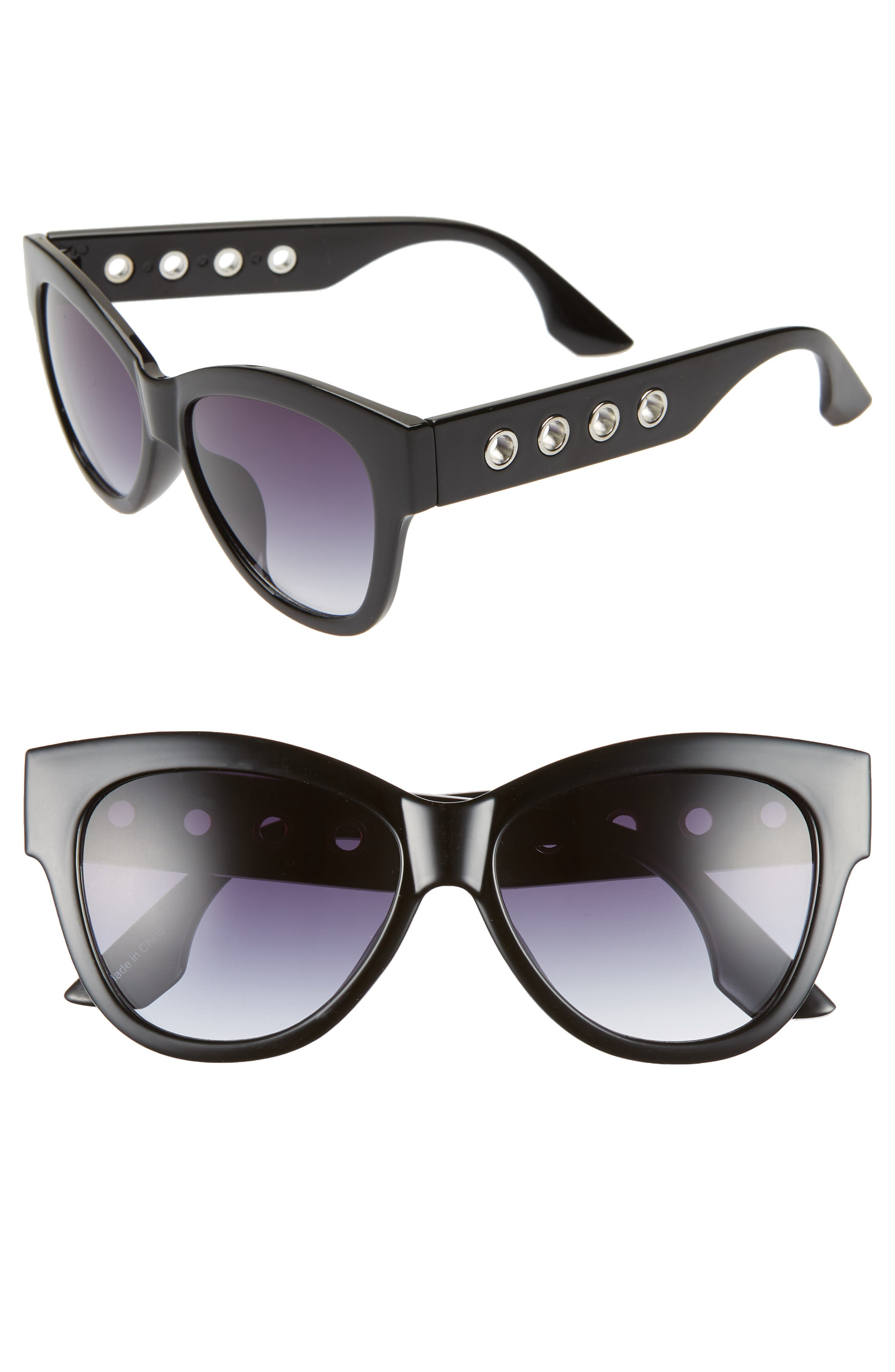 61mm Grommet Detail Square Sunglasses,                             Main thumbnail 1, color,                             BLACK/ SILVER