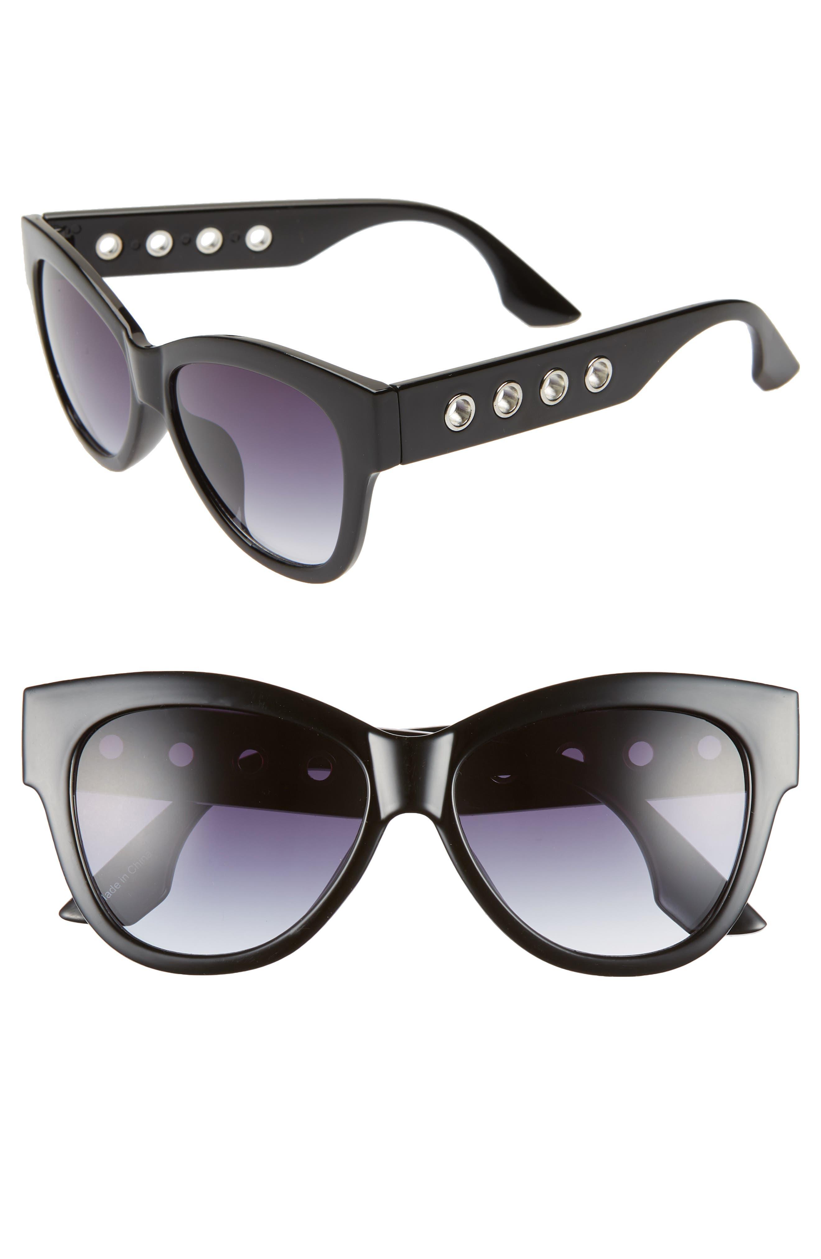 61mm Grommet Detail Square Sunglasses,                         Main,                         color, BLACK/ SILVER