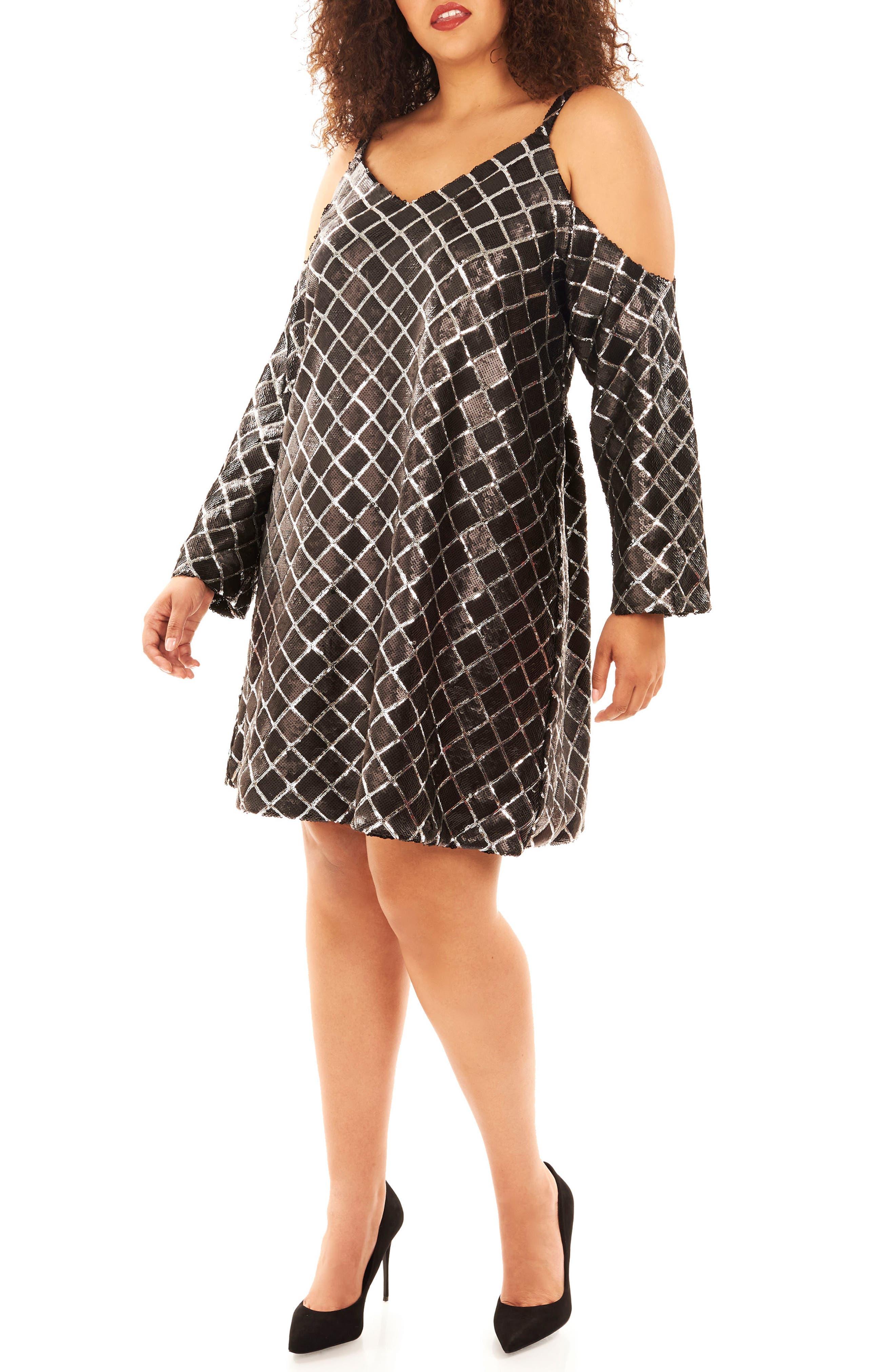 Cold Shoulder Sequin Dress,                             Main thumbnail 1, color,                             019