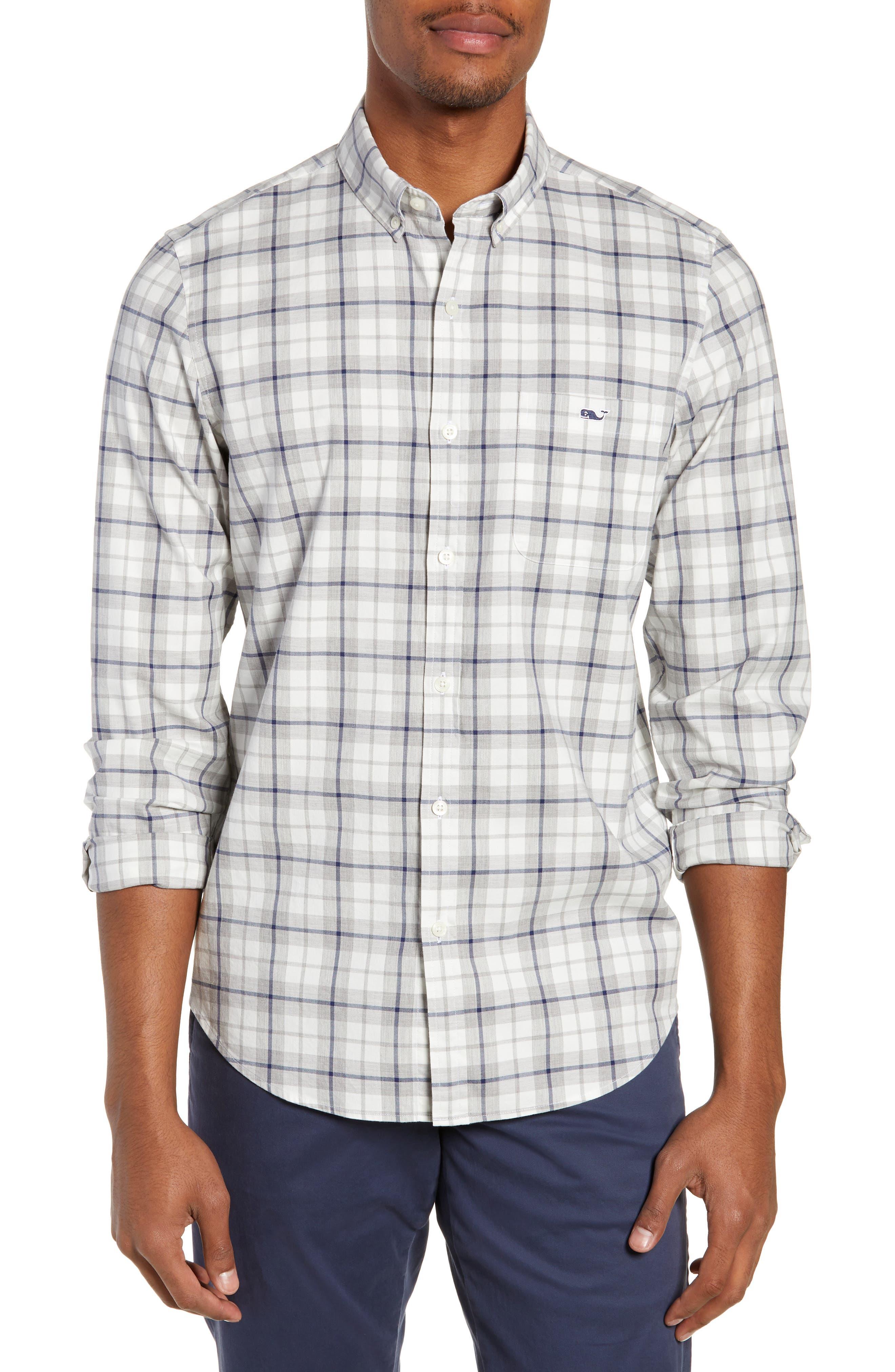 VINEYARD VINES Putnum Cottage Tucker Plaid Slim Fit Button-Down Shirt in Barracuda