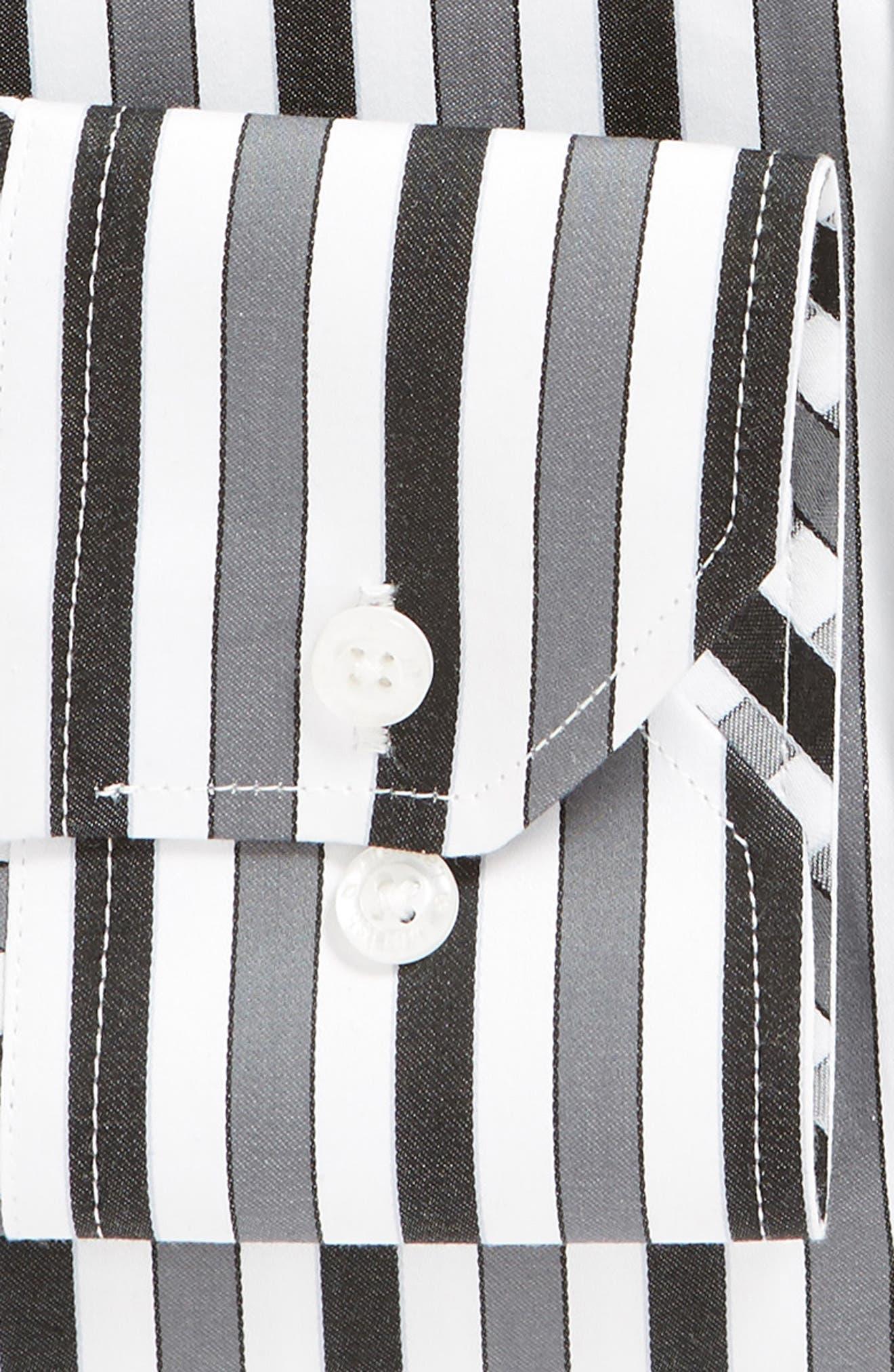 Regular Fit Stripe Dress Shirt,                             Alternate thumbnail 6, color,                             BLACK