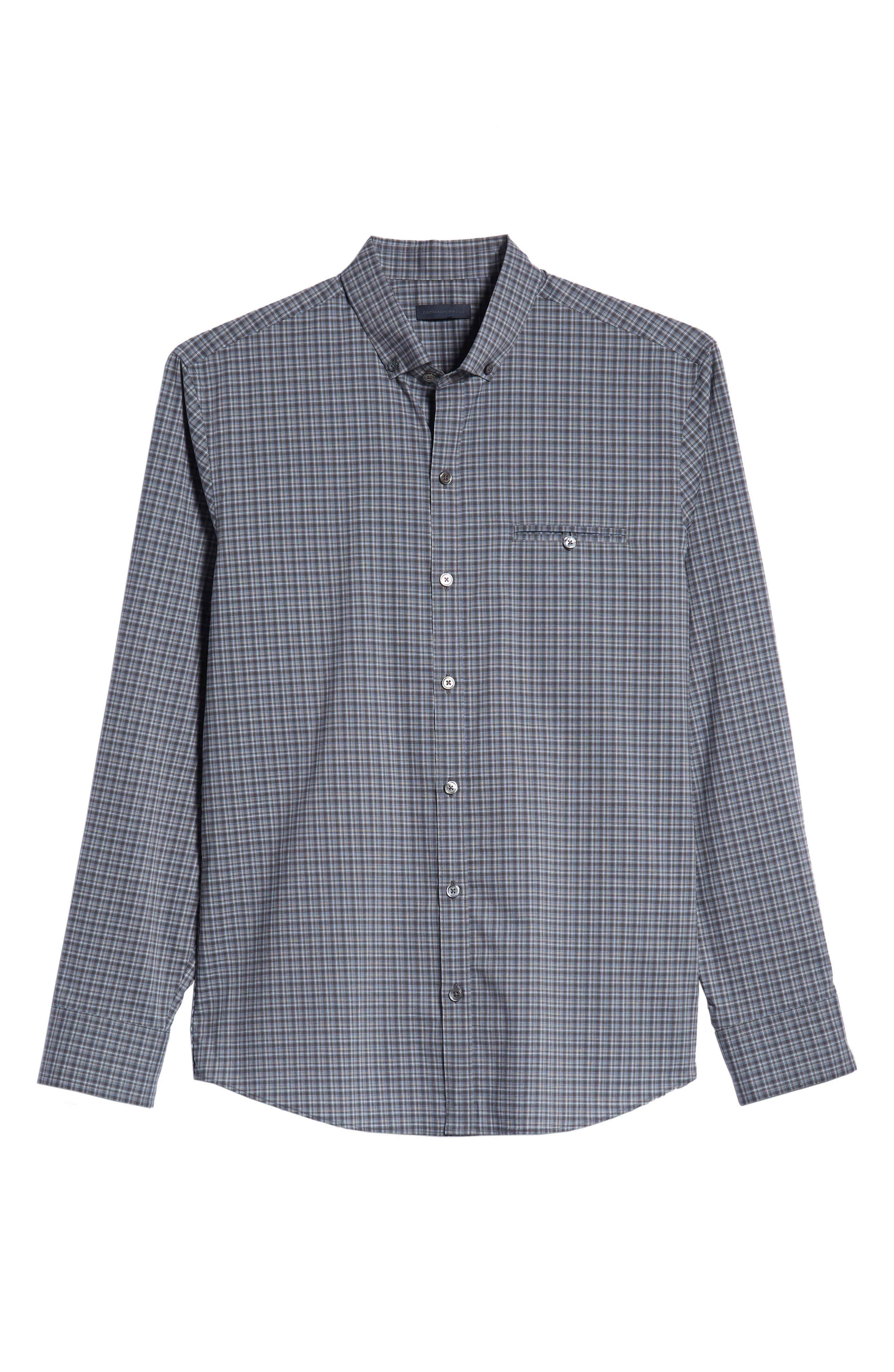 ZACHARY PRELL,                             Chu Regular Fit Plaid Sport Shirt,                             Alternate thumbnail 5, color,                             021