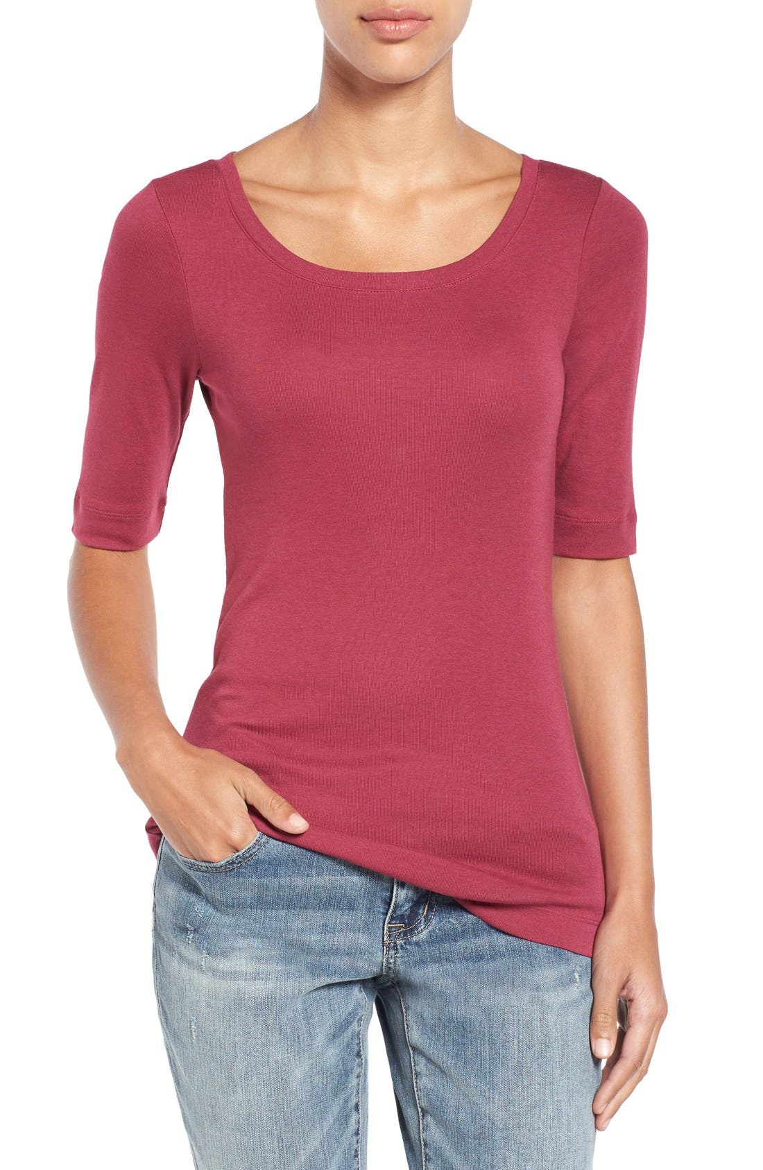 Ballet Neck Cotton & Modal Knit Elbow Sleeve Tee,                             Main thumbnail 55, color,