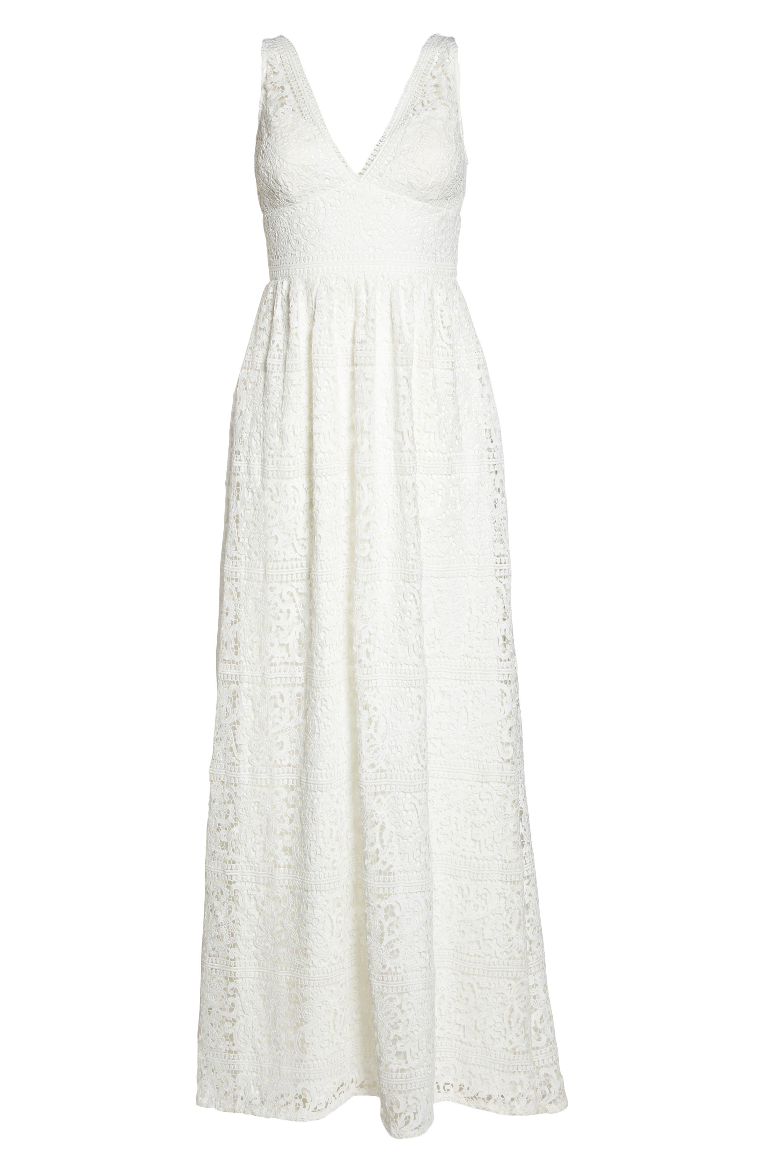 Stripe Lace A-Line Gown,                             Alternate thumbnail 6, color,