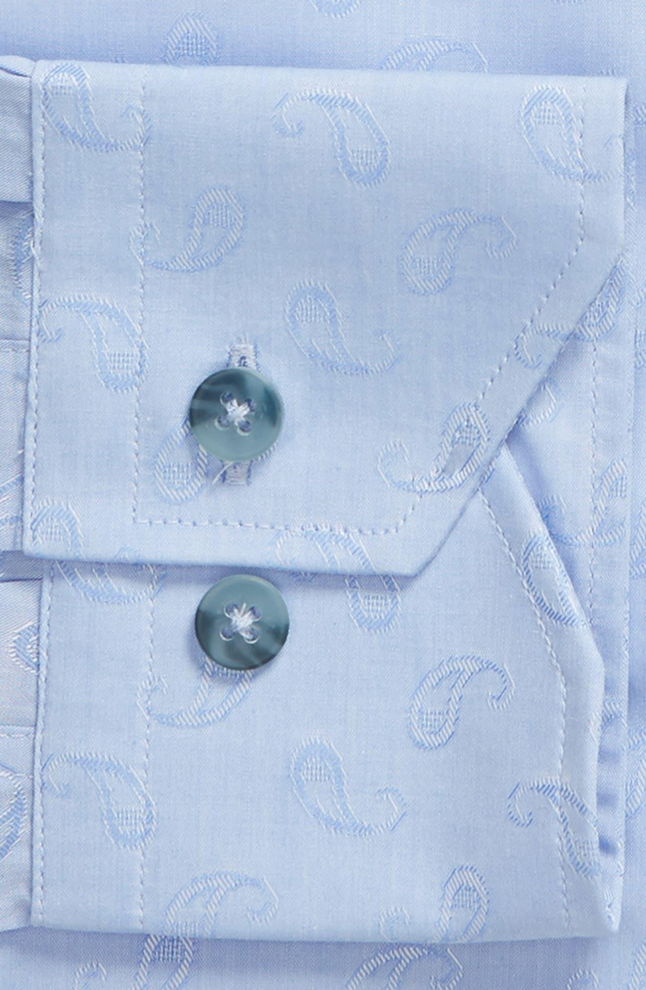 Trim Fit Paisley Dress Shirt,                             Alternate thumbnail 6, color,                             LIGHT BLUE