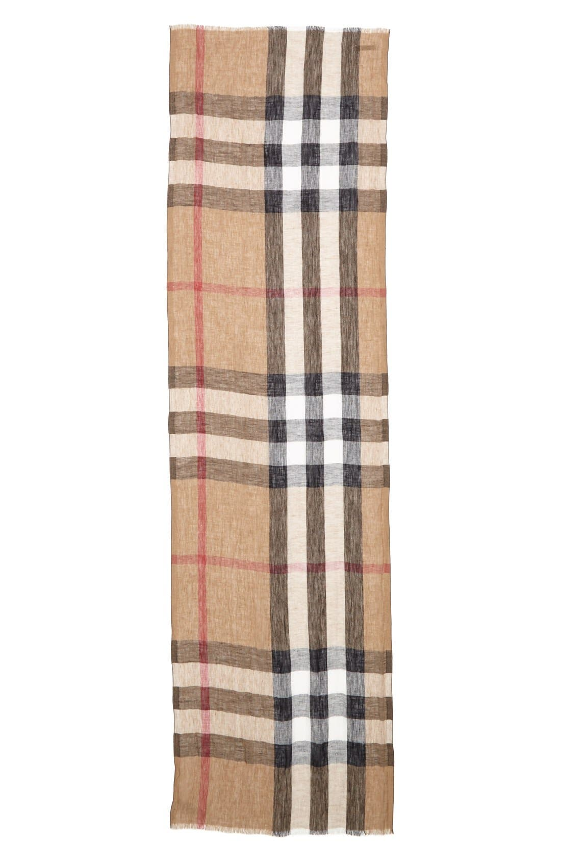 'Giant Exploded Check' Linen Scarf,                             Alternate thumbnail 2, color,                             003