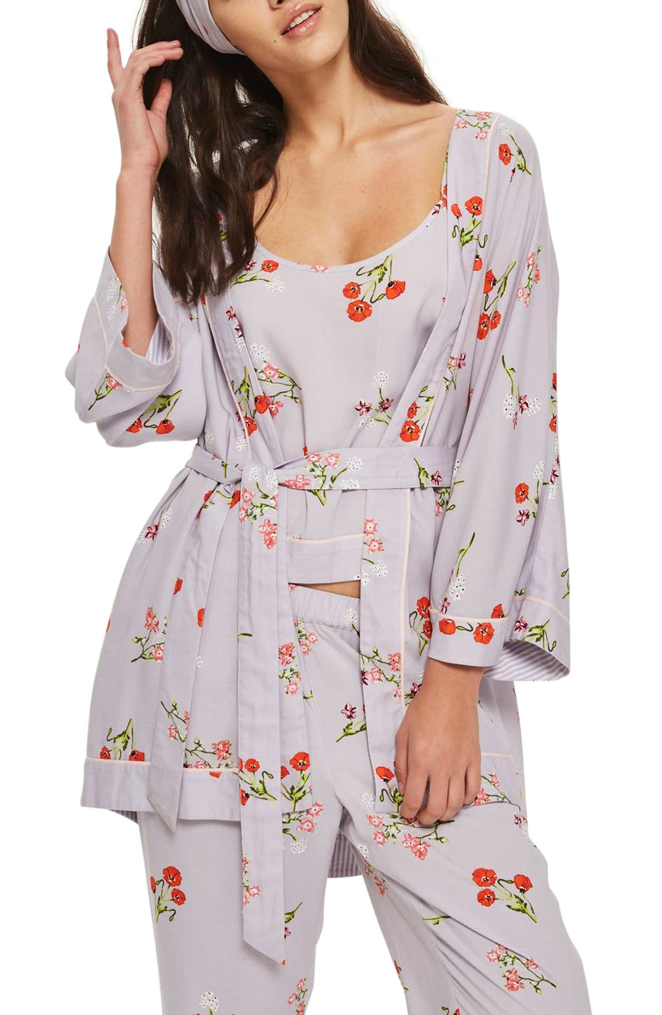 Poppy Print Robe,                         Main,                         color,