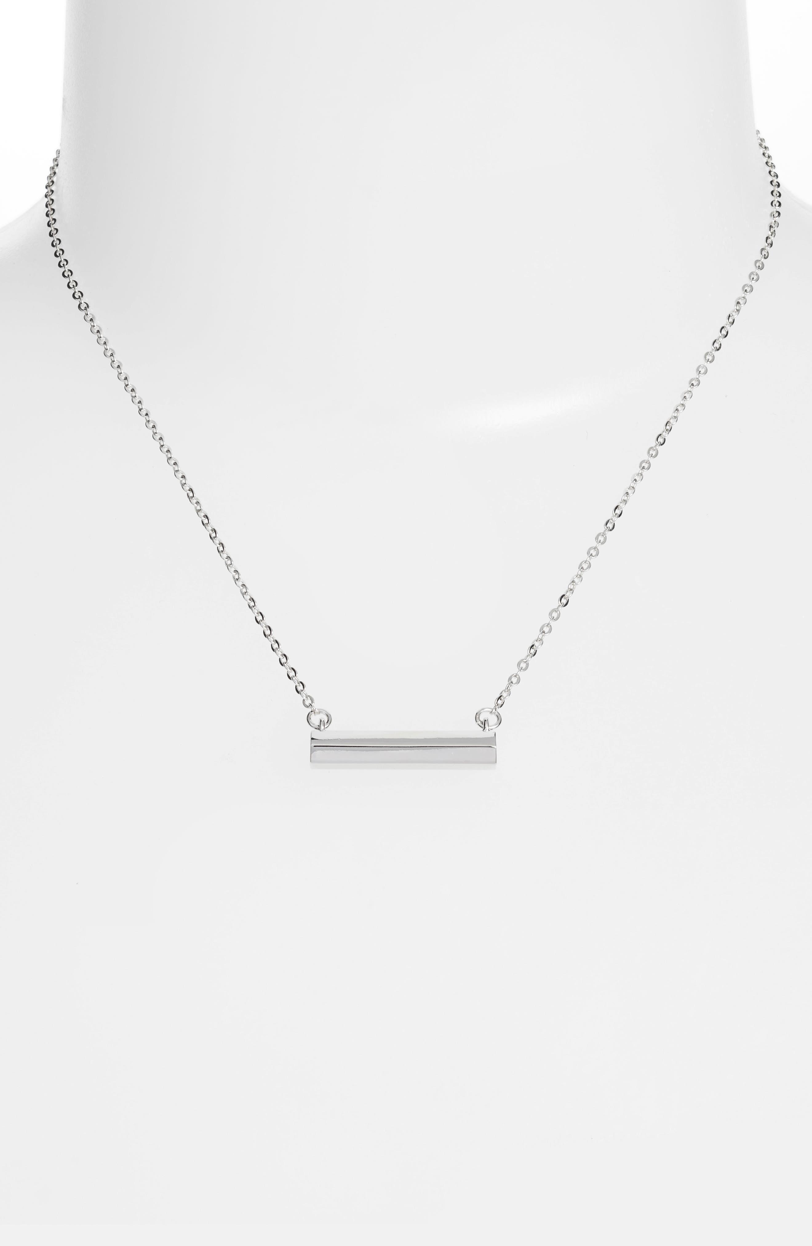 Hexagon Shaped Bar Pendant Necklace,                             Alternate thumbnail 2, color,                             040