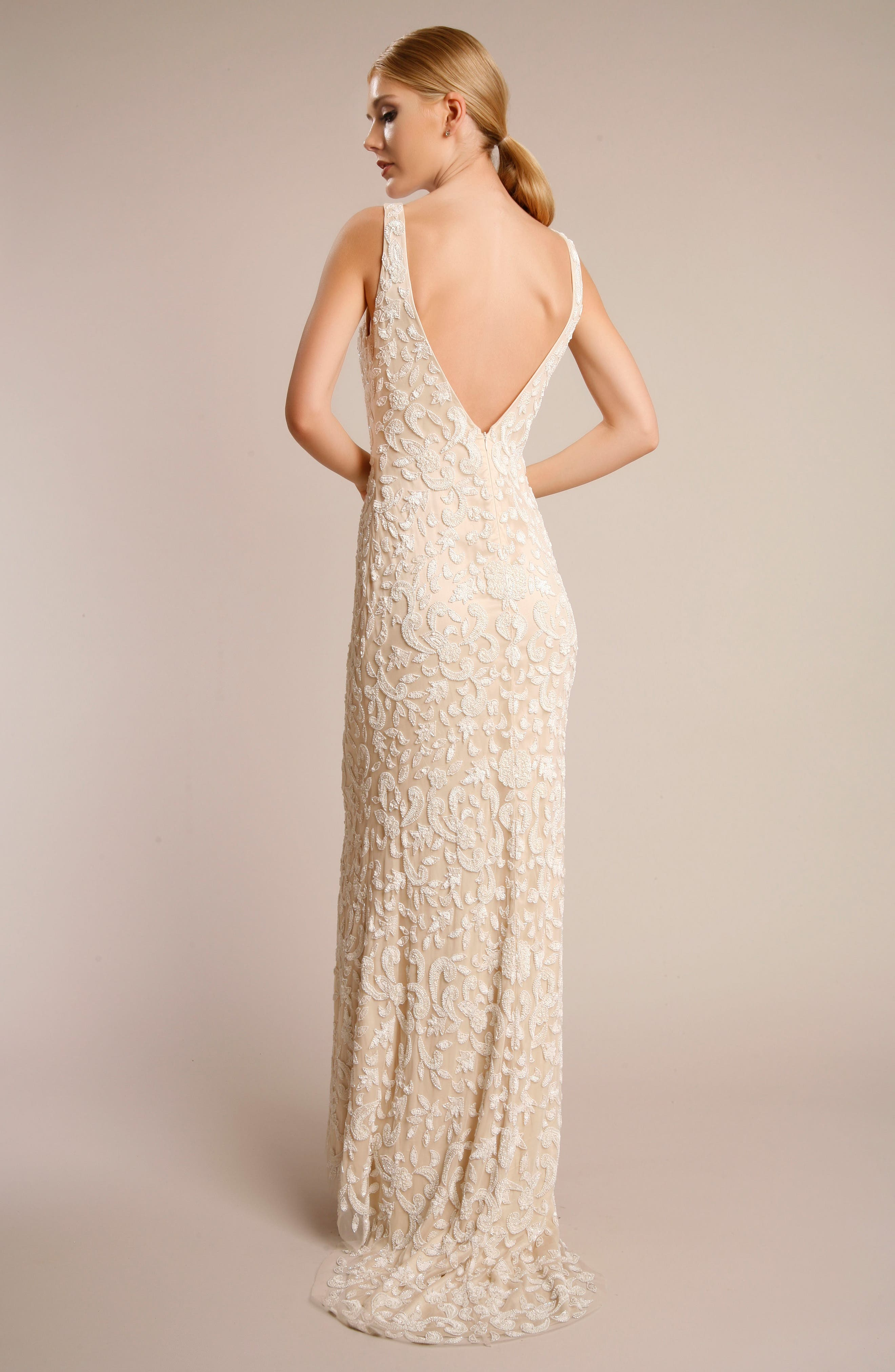 Beaded Lace Gown,                             Alternate thumbnail 2, color,                             NUDE