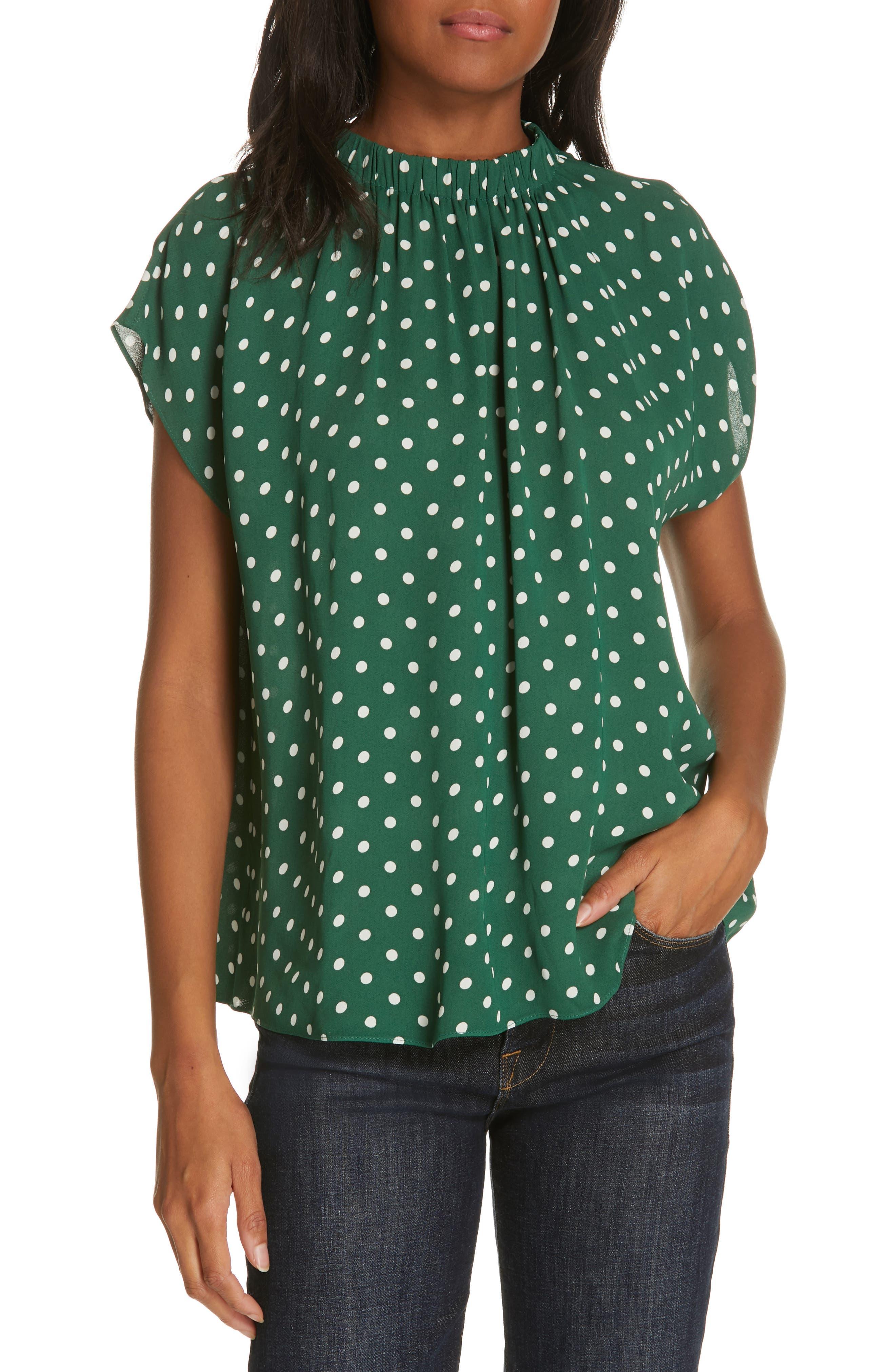 Polka Dot Short Sleeve Top, Main, color, GREEN EDEN PETITE DOT