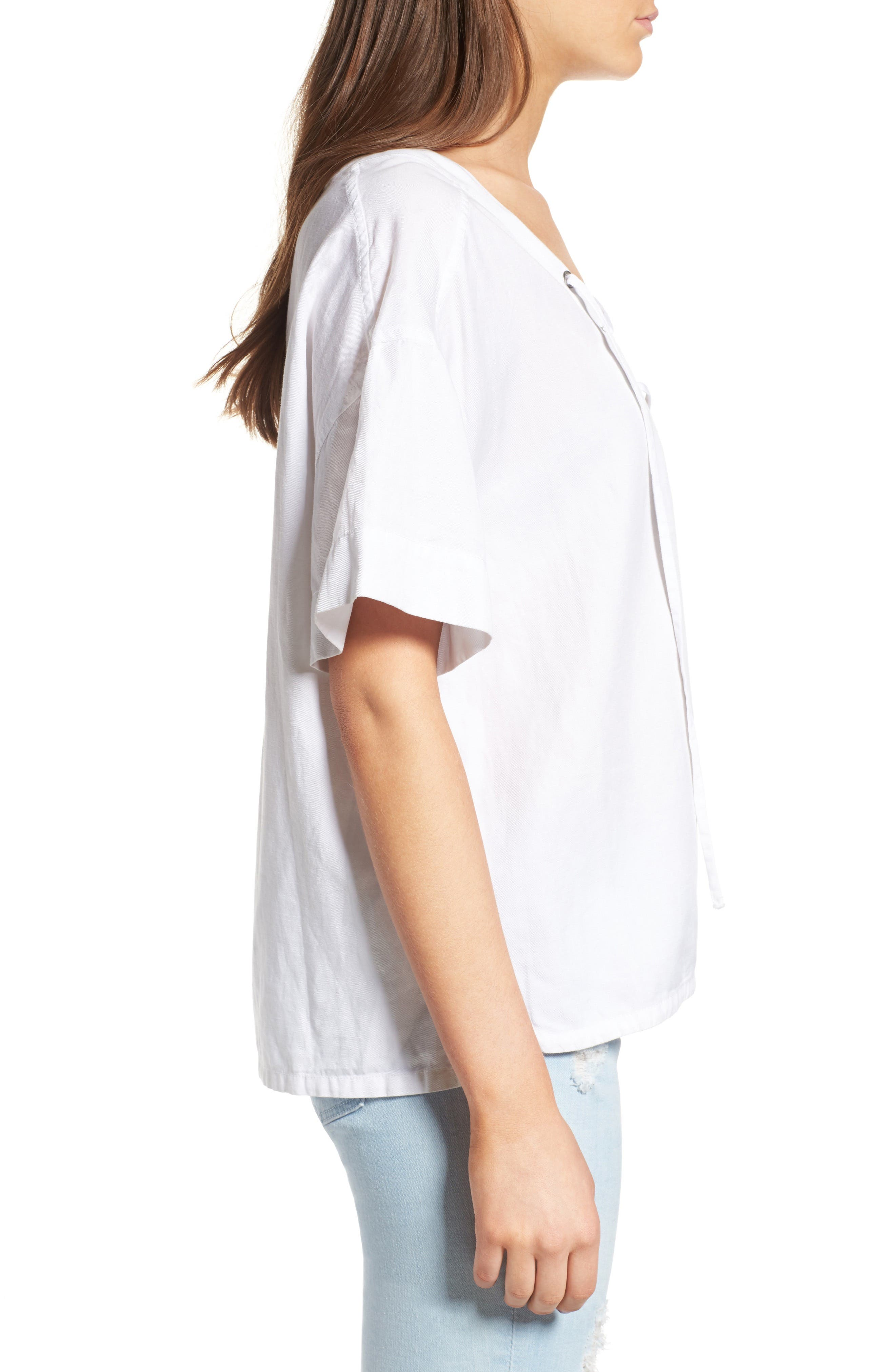 Kelly Lace-Up Cotton Top,                             Alternate thumbnail 3, color,                             100