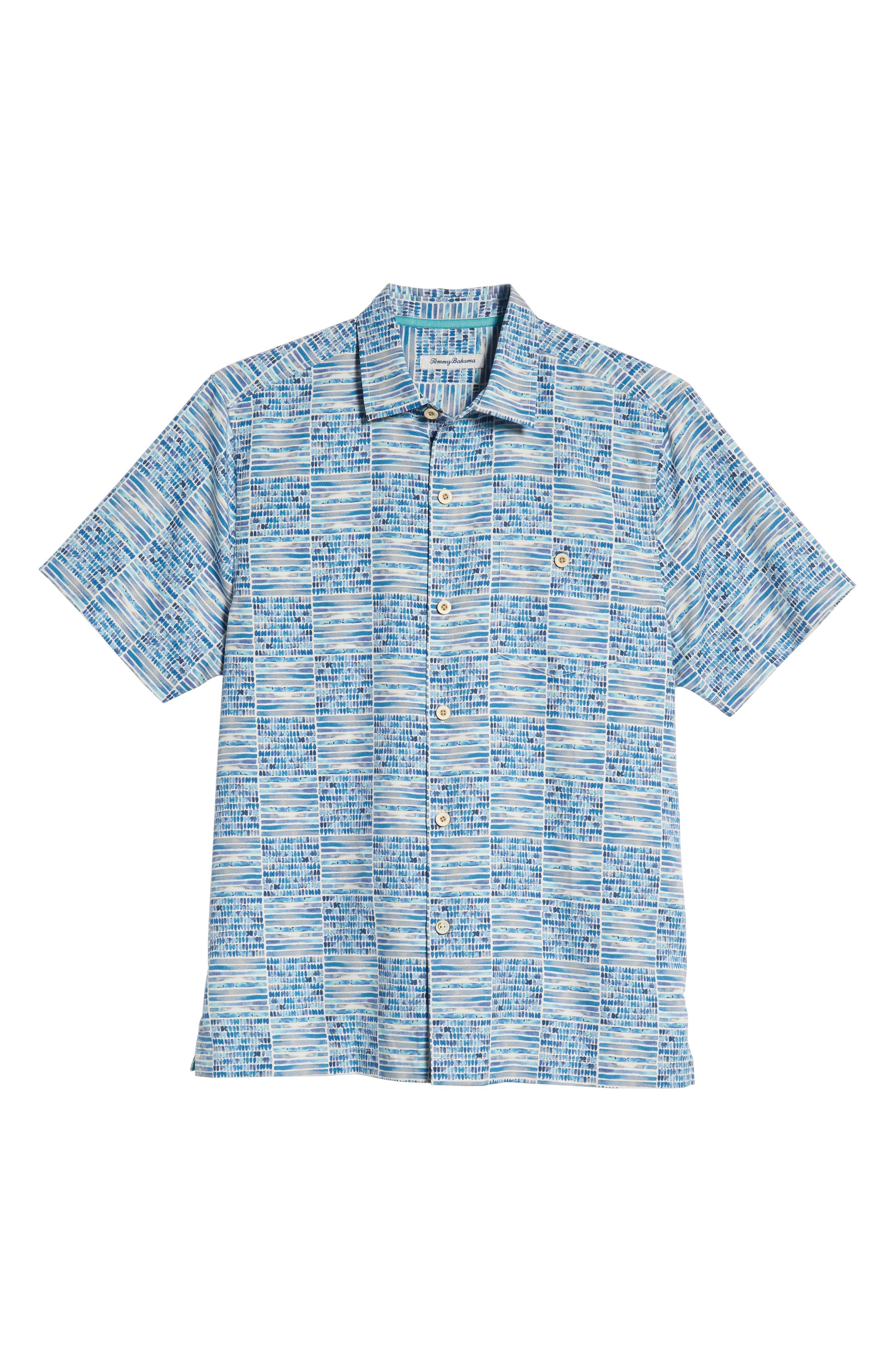 Rio Geo Short Sleeve Silk Blend Sport Shirt,                             Alternate thumbnail 5, color,                             AQUA ICE