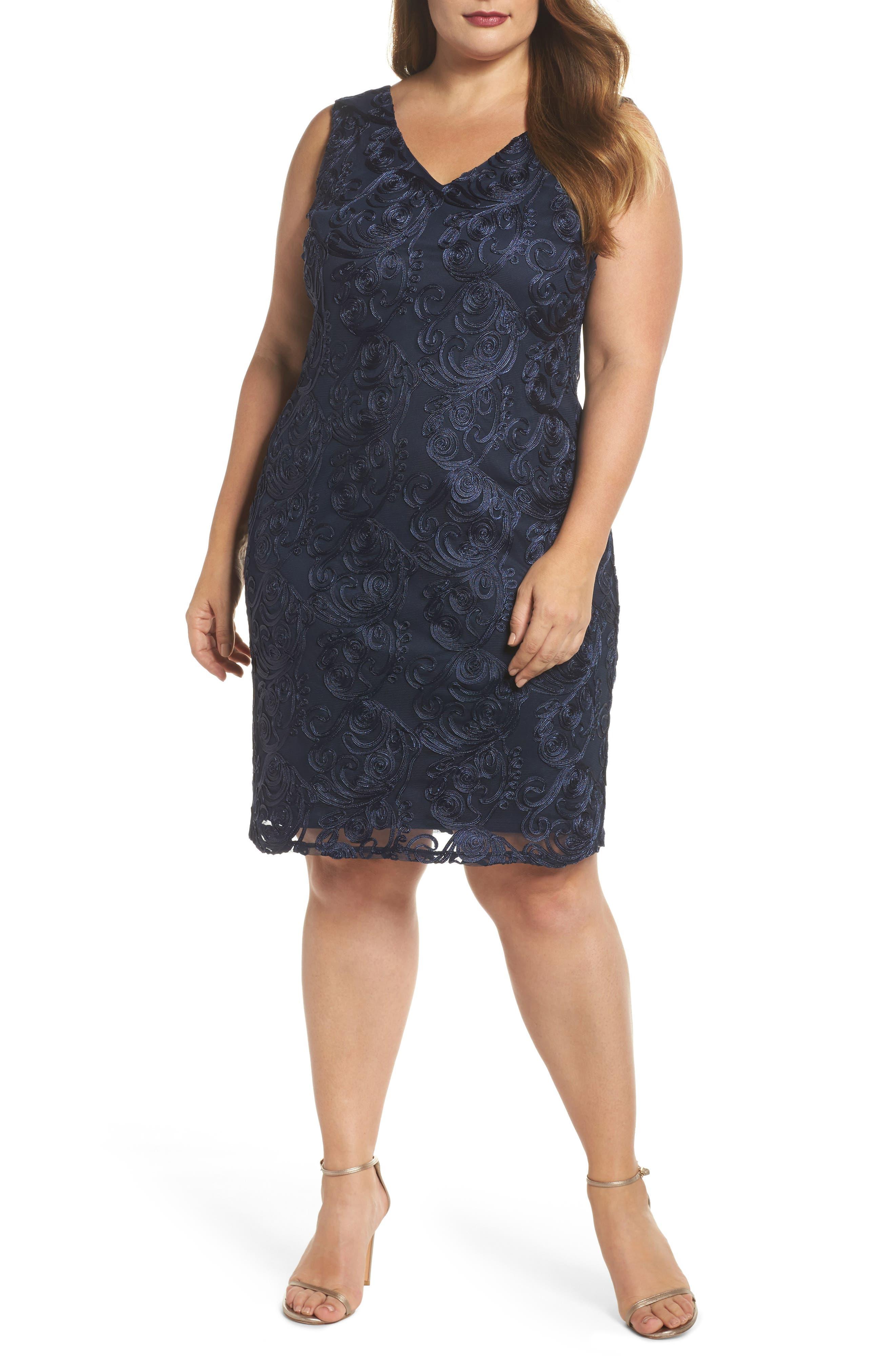 Soutache Sheath Dress,                             Main thumbnail 1, color,                             400