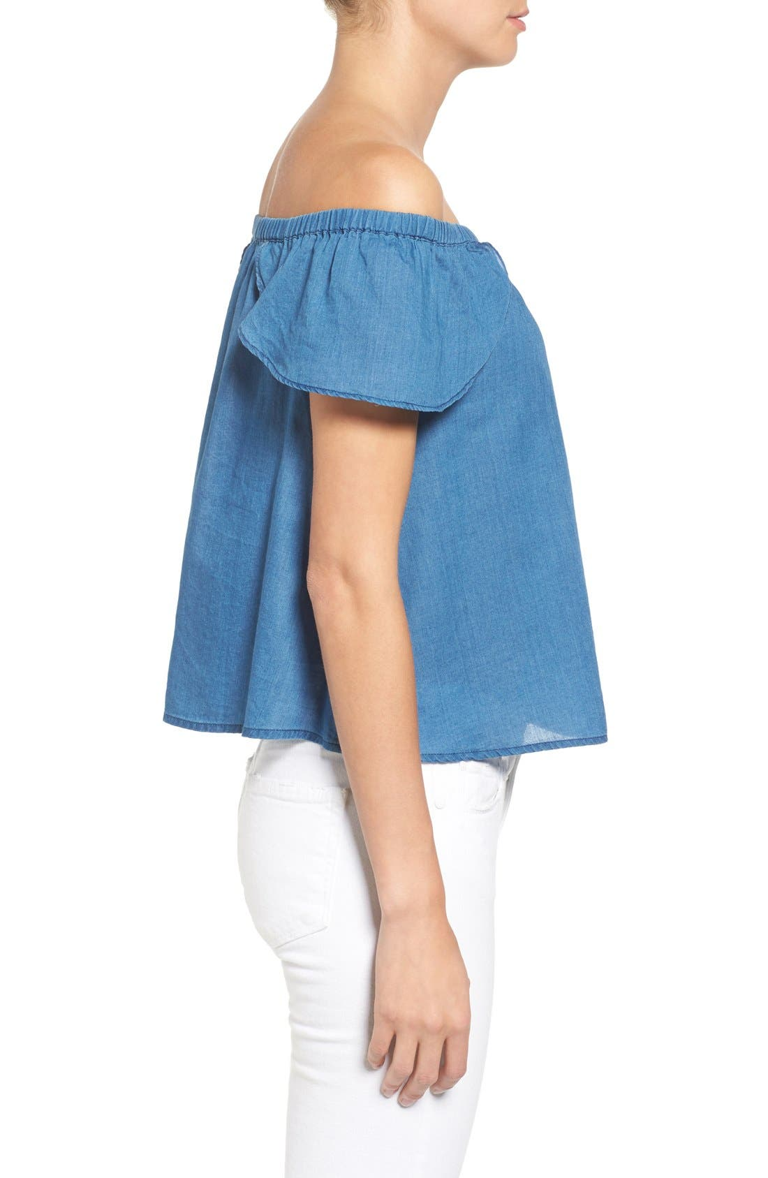 MADEWELL,                             Off the Shoulder Cotton Top,                             Alternate thumbnail 4, color,                             400