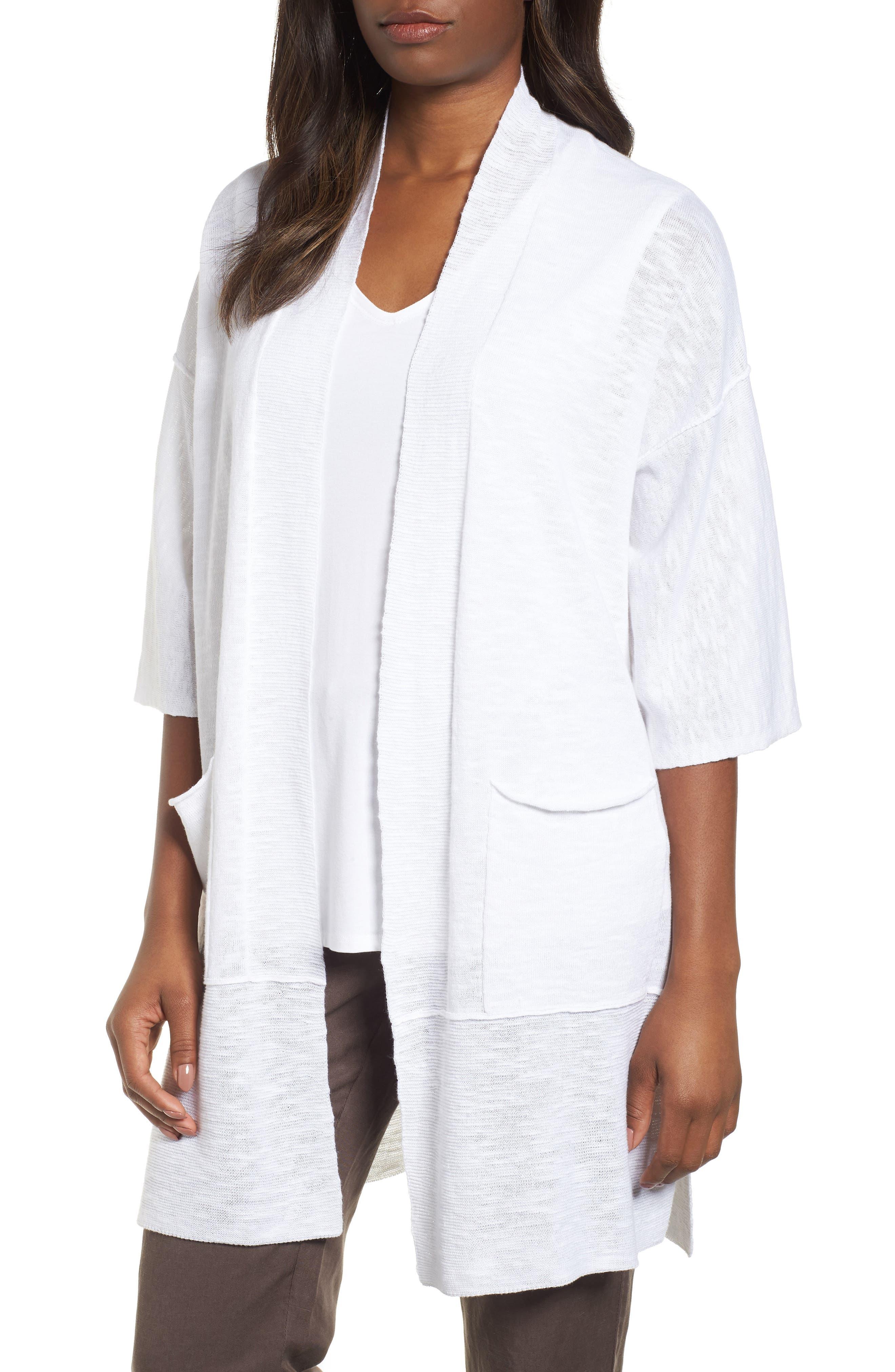 Organic Linen & Cotton Kimono Cardigan,                             Main thumbnail 1, color,