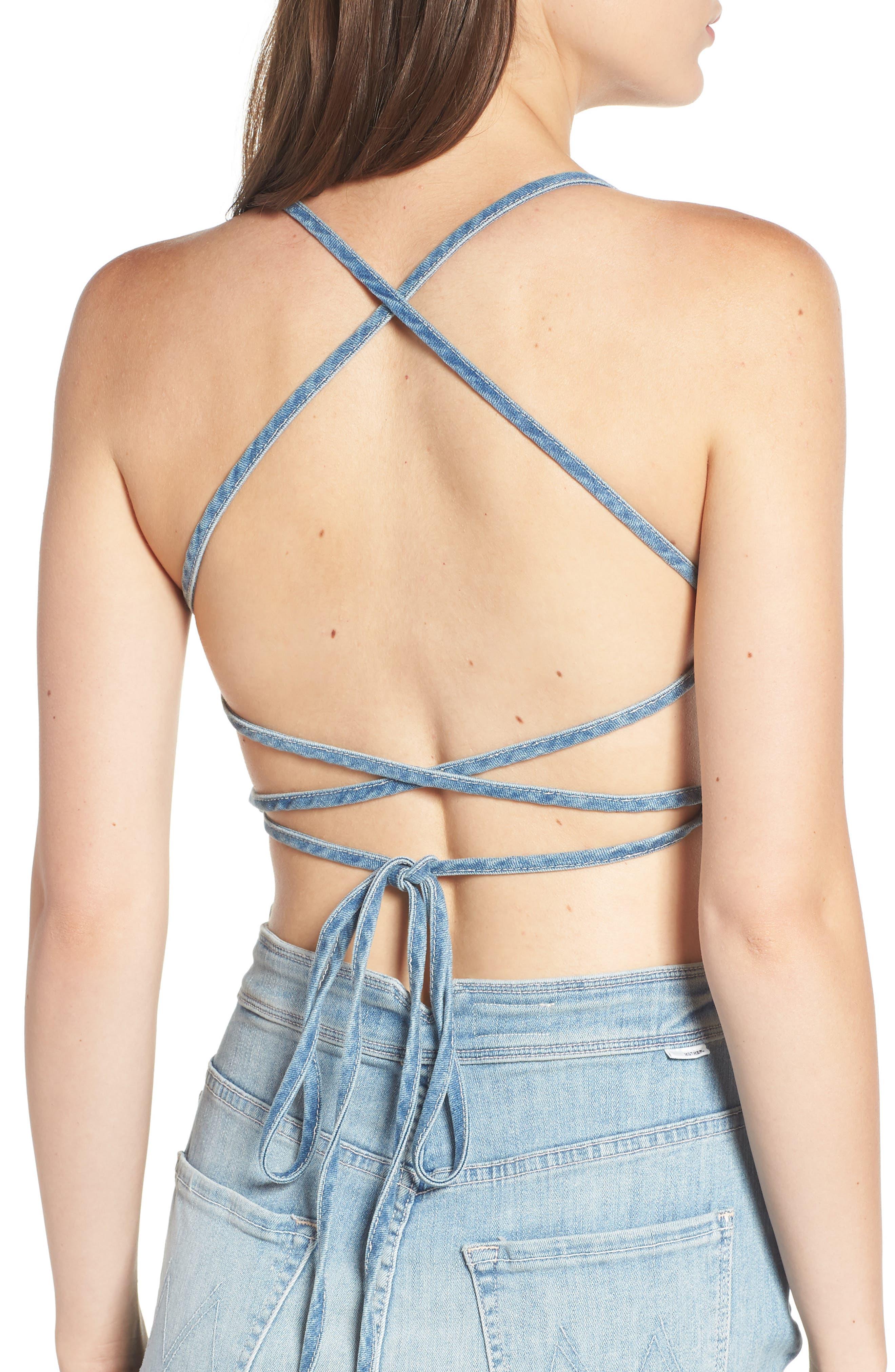 The Tie Back Frayed Denim Dress,                             Alternate thumbnail 4, color,                             TINGE