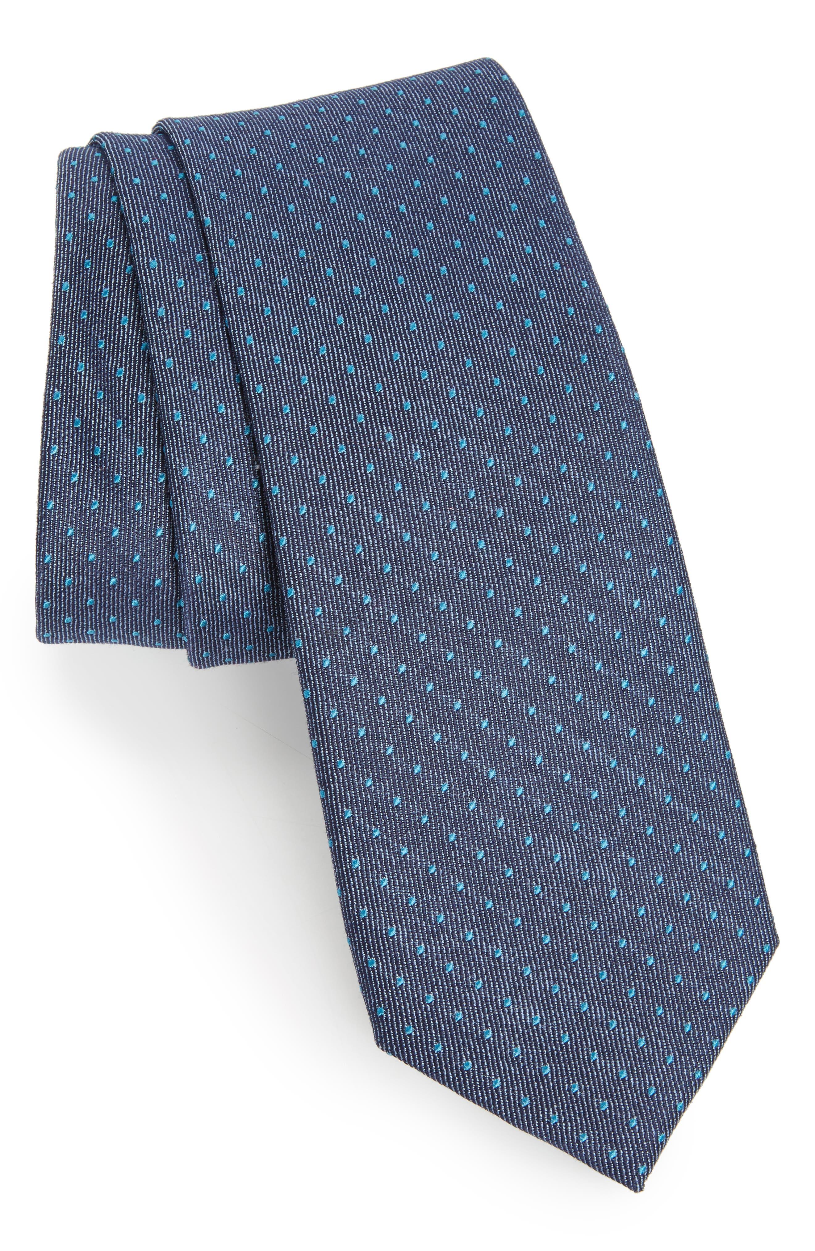 Brockton Dot Silk & Cotton Tie,                             Main thumbnail 1, color,
