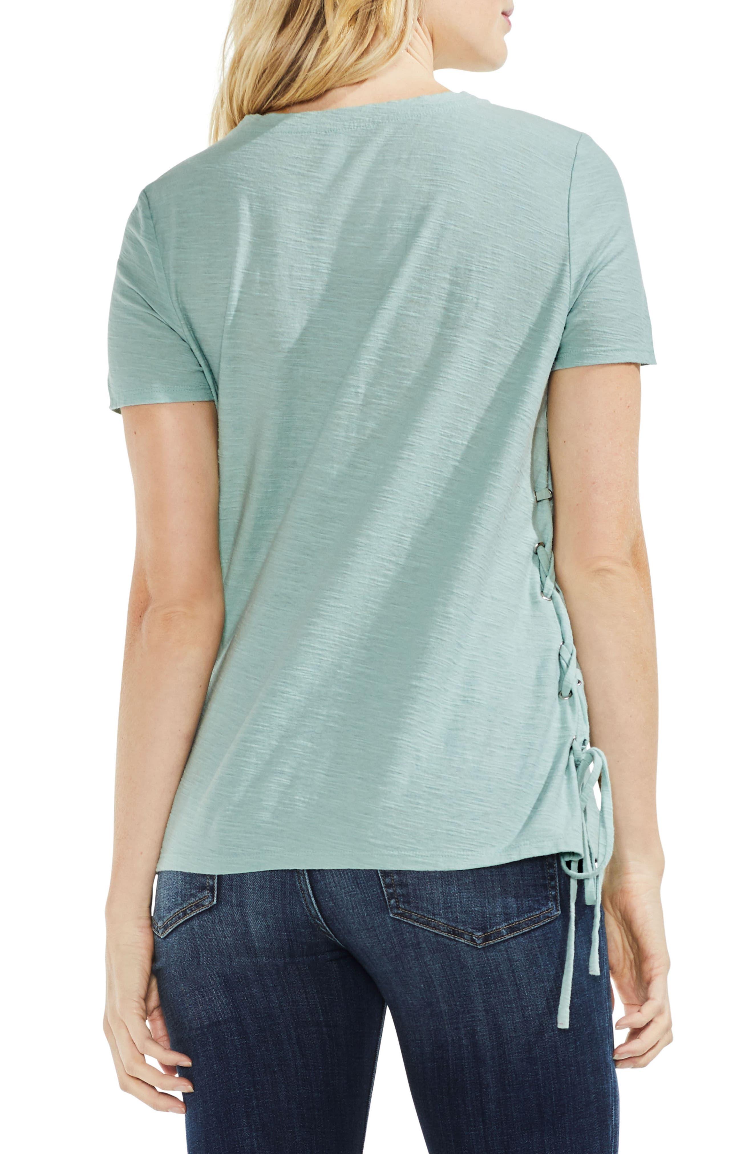 Side Lace-Up Cotton Slub Top,                             Alternate thumbnail 13, color,