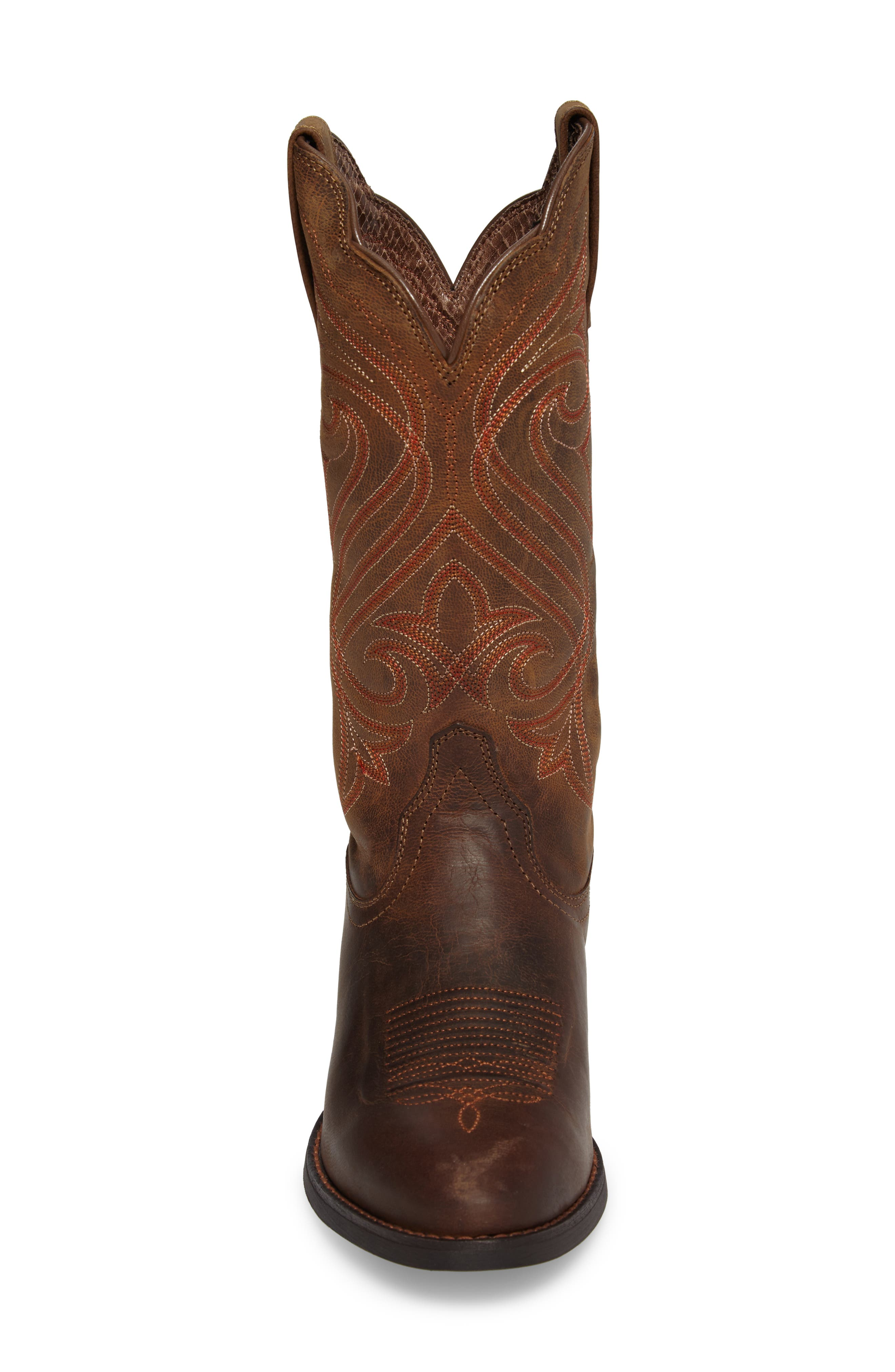 Round Up R-Toe Western Boot,                             Alternate thumbnail 4, color,                             DARK TOFFEE LEATHER