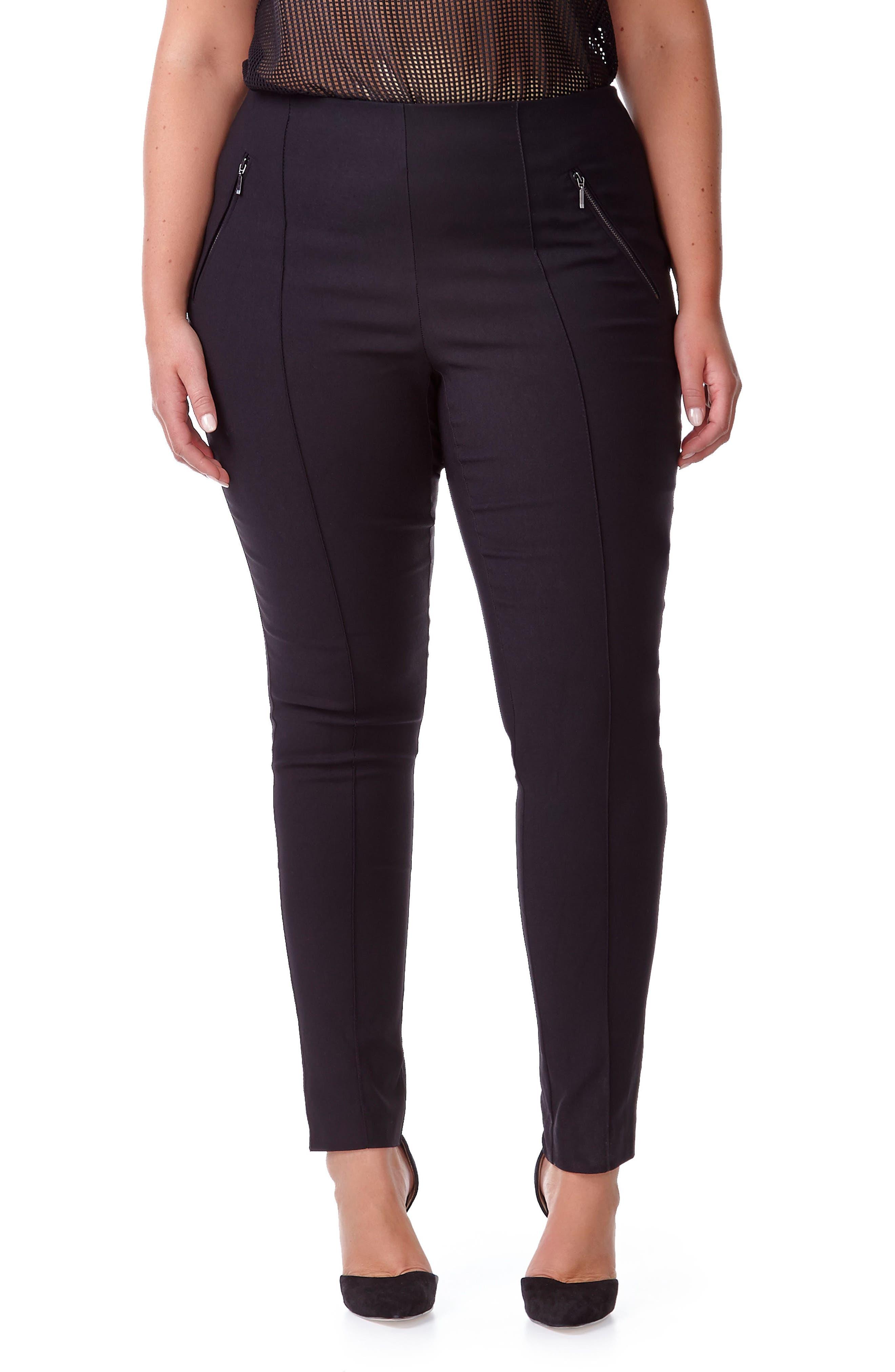 MICHEL STUDIO Alexa Ankle Pants, Main, color, BLACK