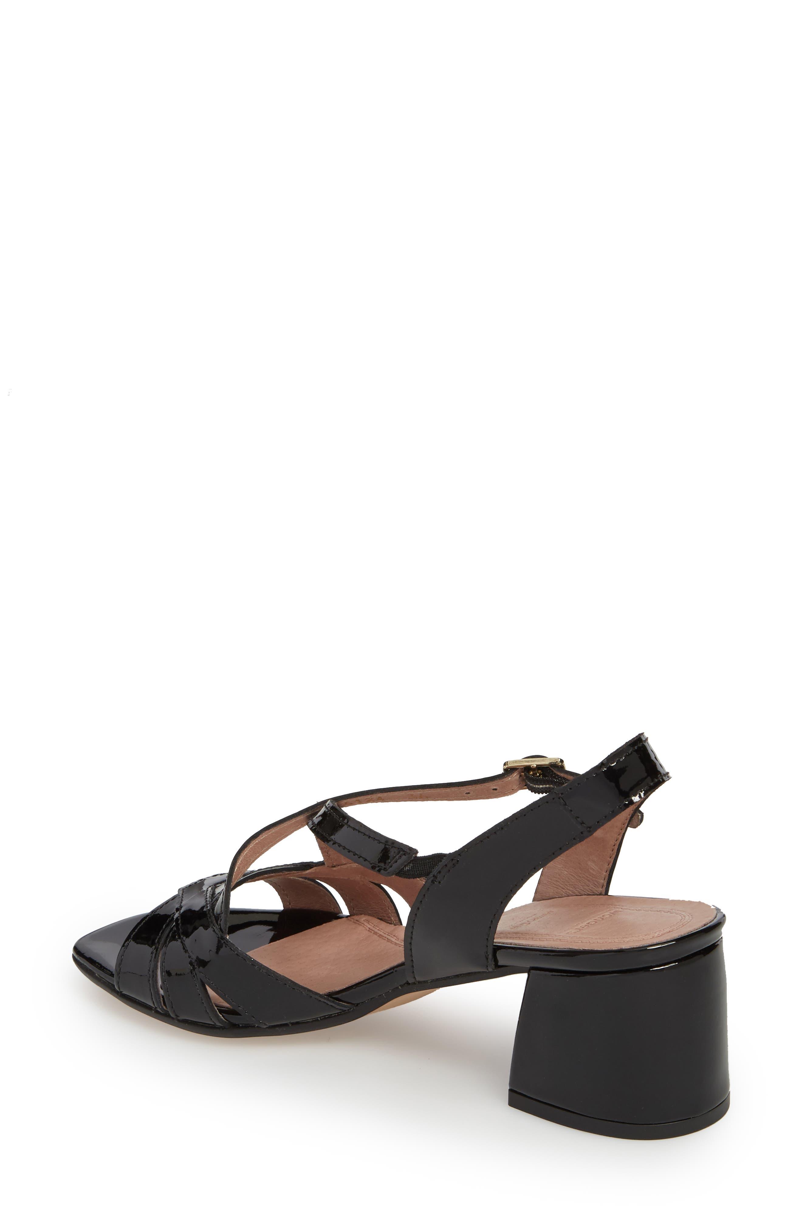 Block Heel Sandal,                             Alternate thumbnail 2, color,                             BLACK LEATHER