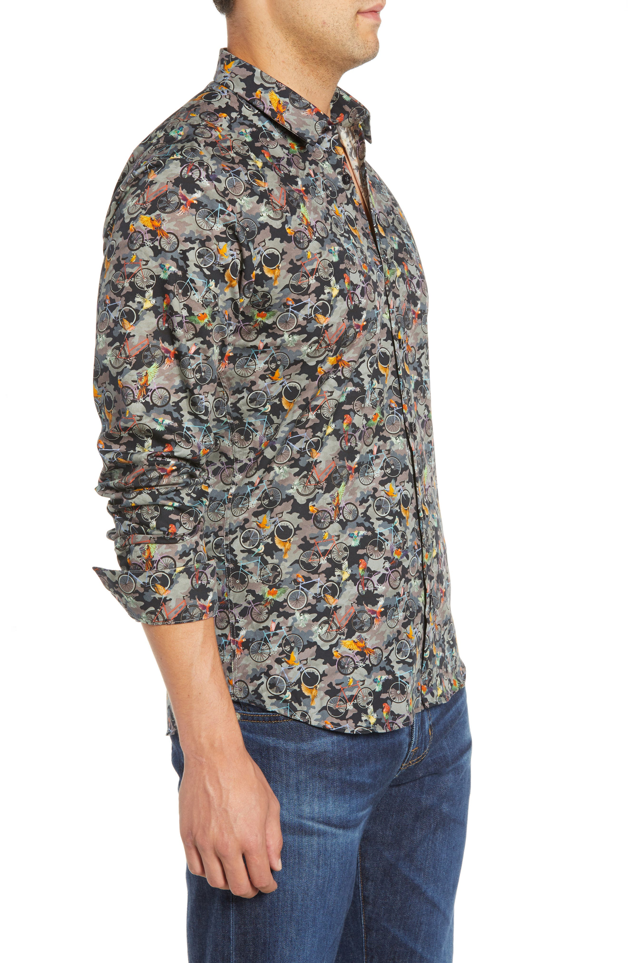 Print Long Sleeve Trim Fit Sport Shirt,                             Alternate thumbnail 4, color,                             300