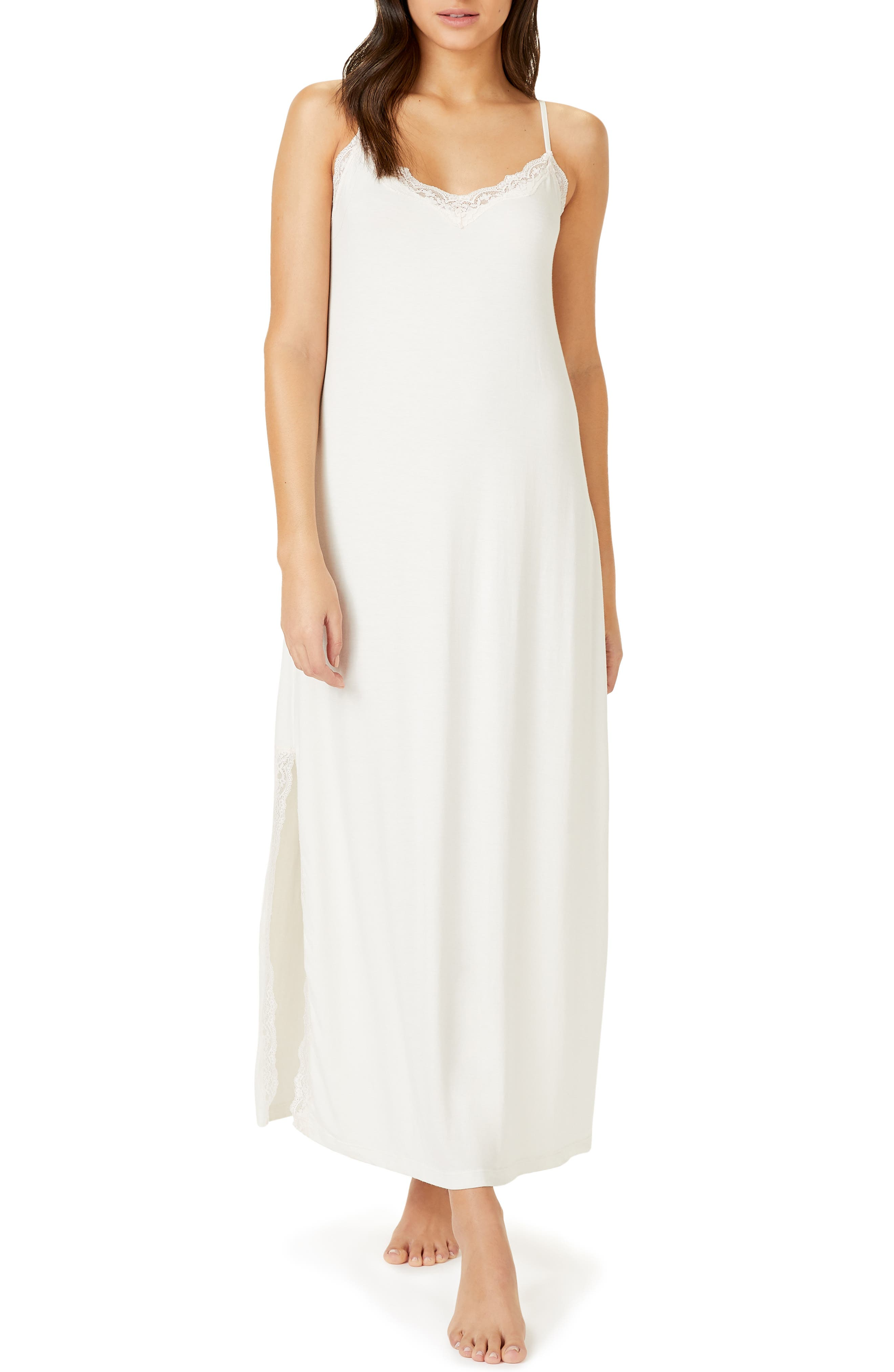 The White Company Lace Trim Nightgown, Ivory