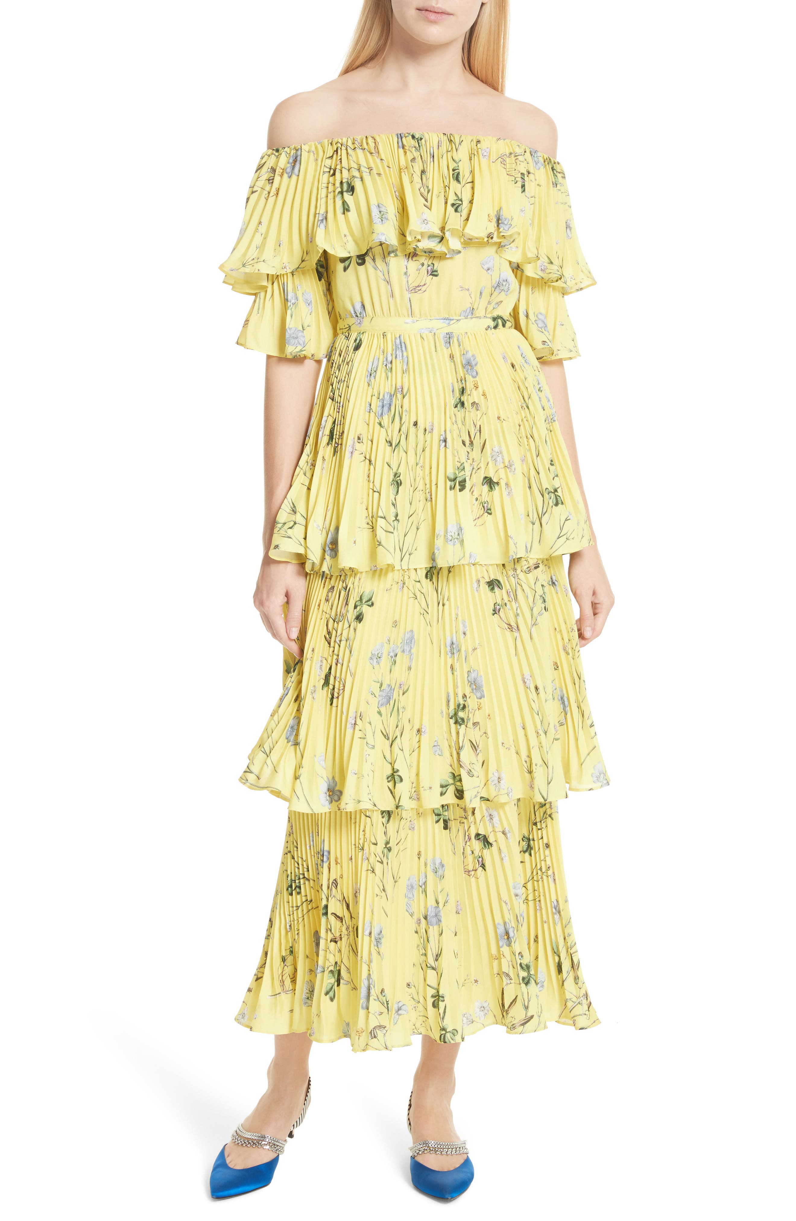 Floral Pleated Tiered Dress,                             Main thumbnail 1, color,                             700