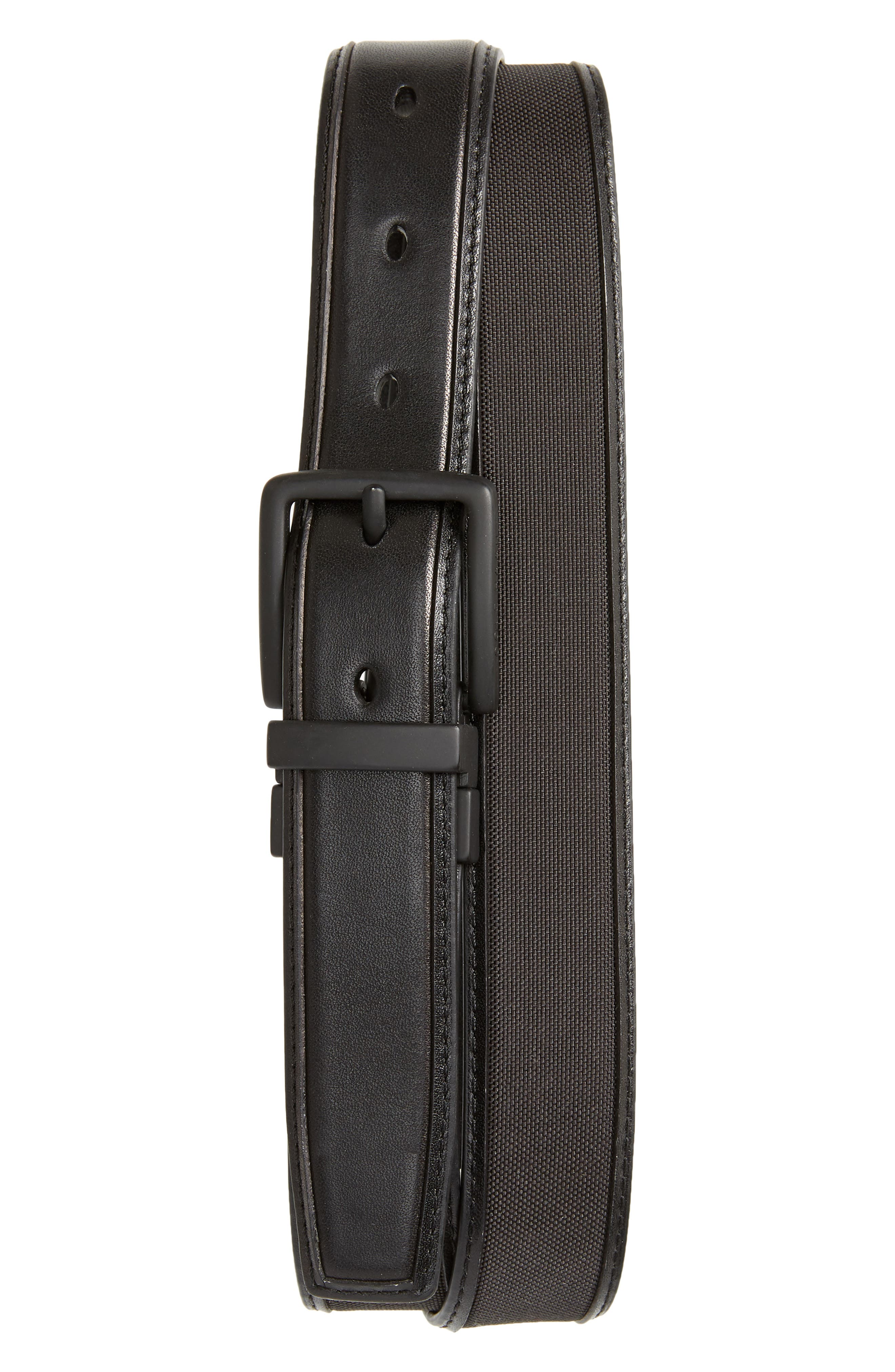 Reversible Nylon Inlay Leather Belt,                             Main thumbnail 1, color,                             BLACK