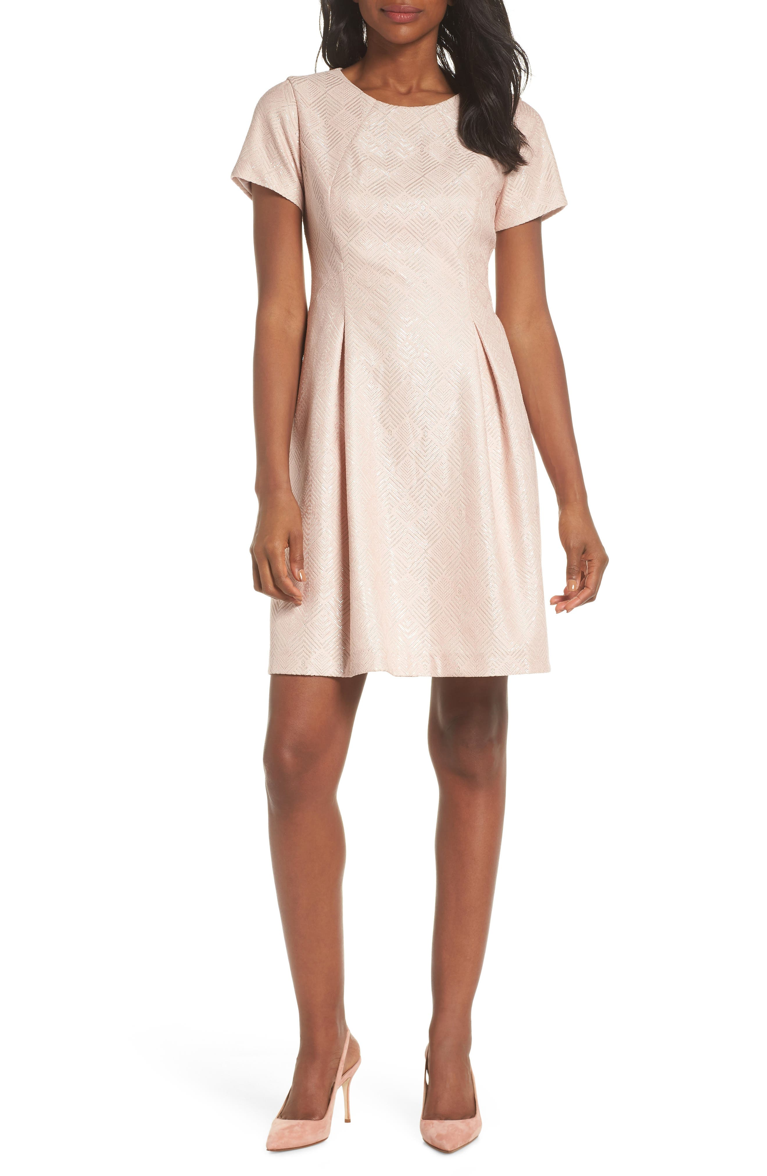 Vince Camuto Bonded Lace Fit & Flare Dress, Pink