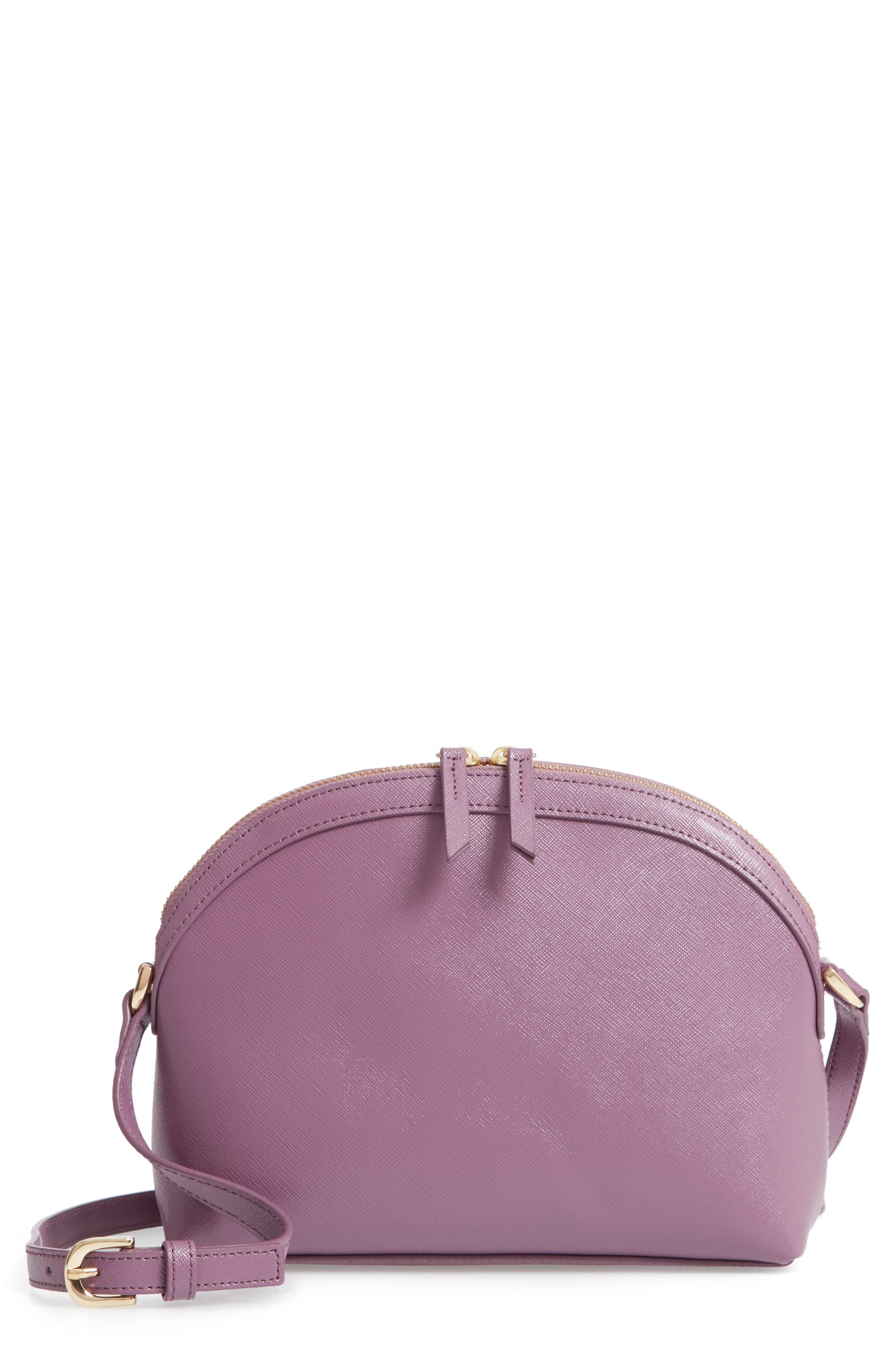 Isobel Half Moon Leather Crossbody Bag,                             Main thumbnail 1, color,                             PURPLE BETTA