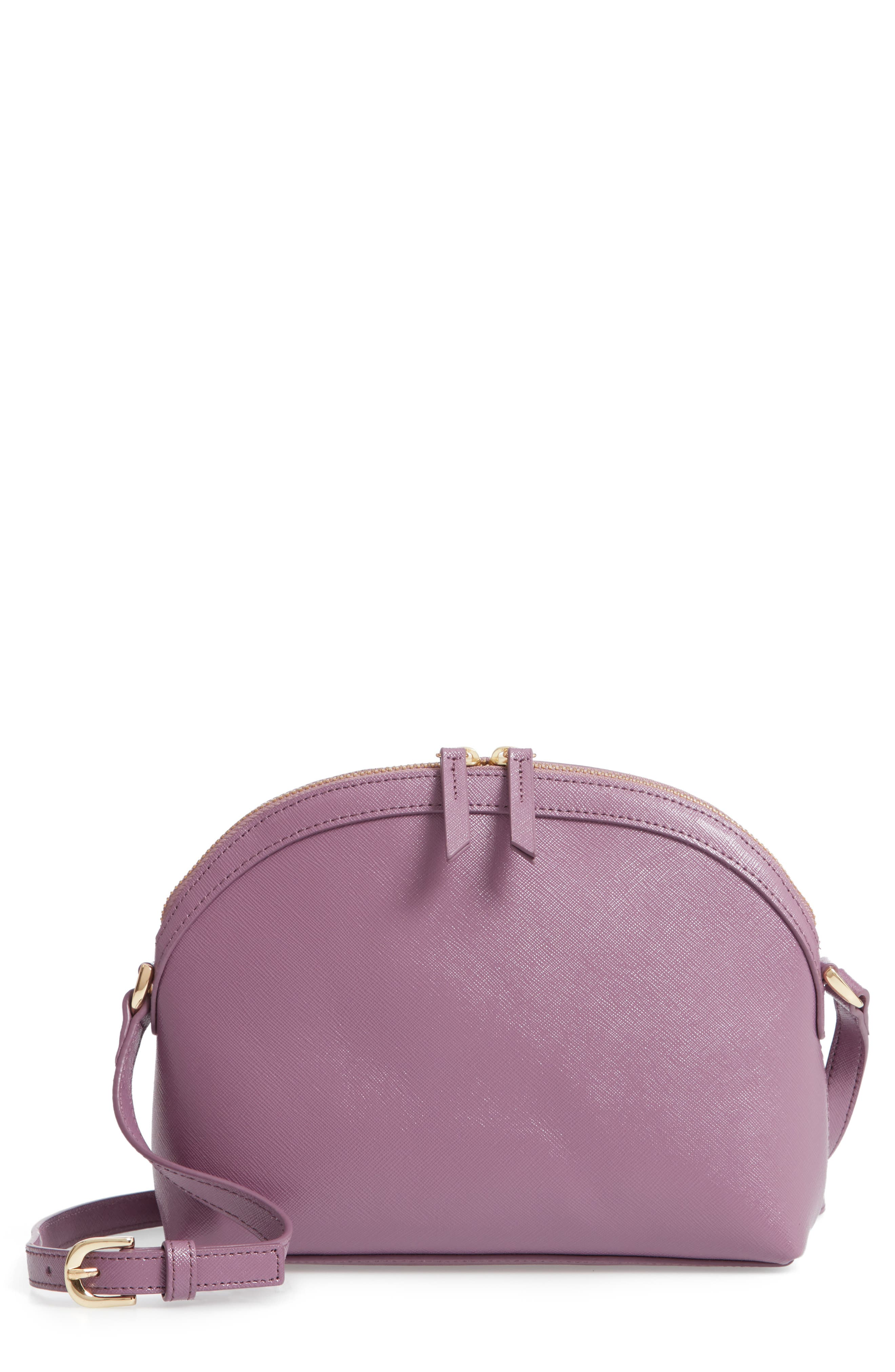 Isobel Half Moon Leather Crossbody Bag,                         Main,                         color, PURPLE BETTA