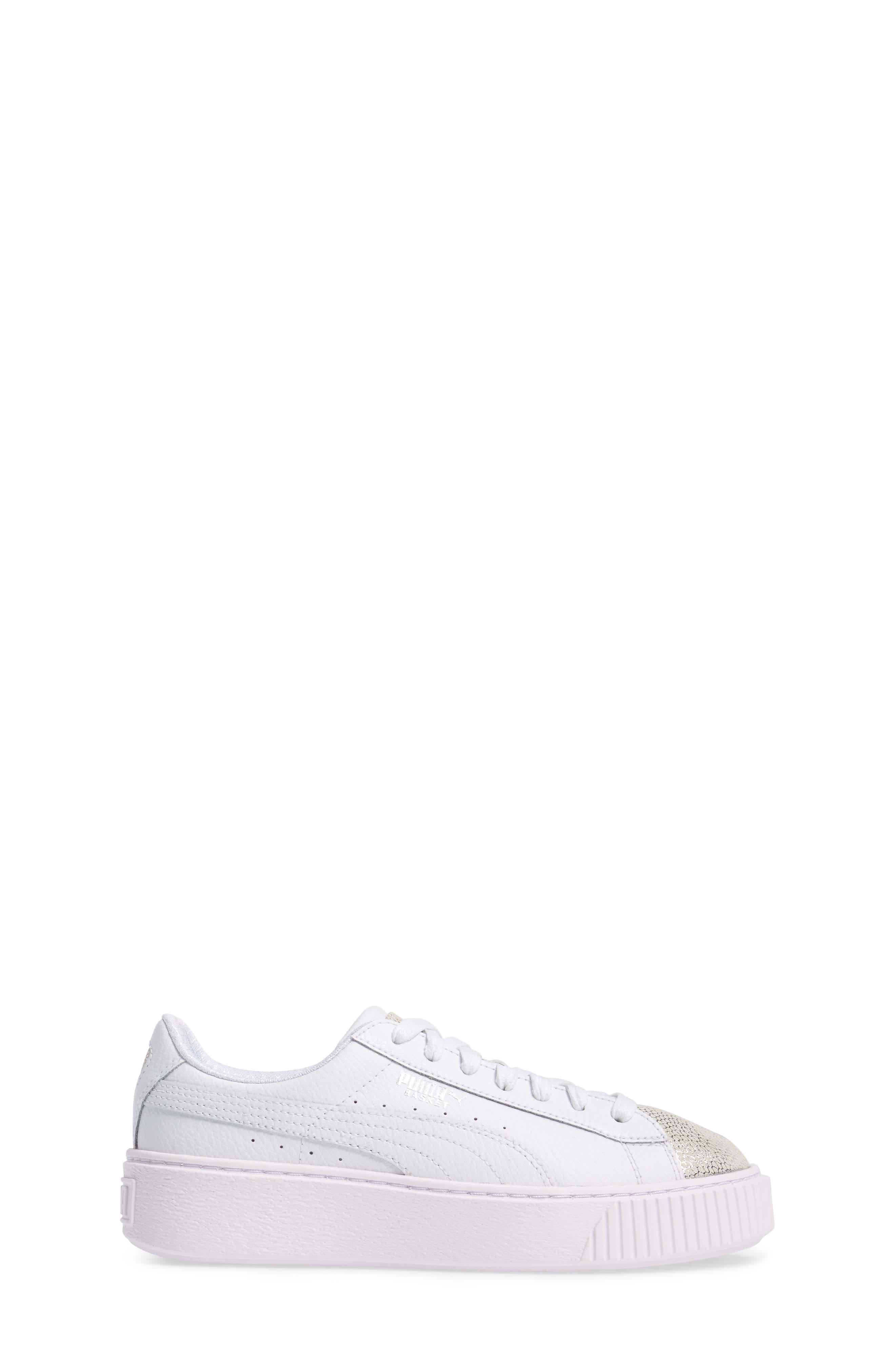 Basket Glitz Platform Sneaker,                             Alternate thumbnail 3, color,                             100