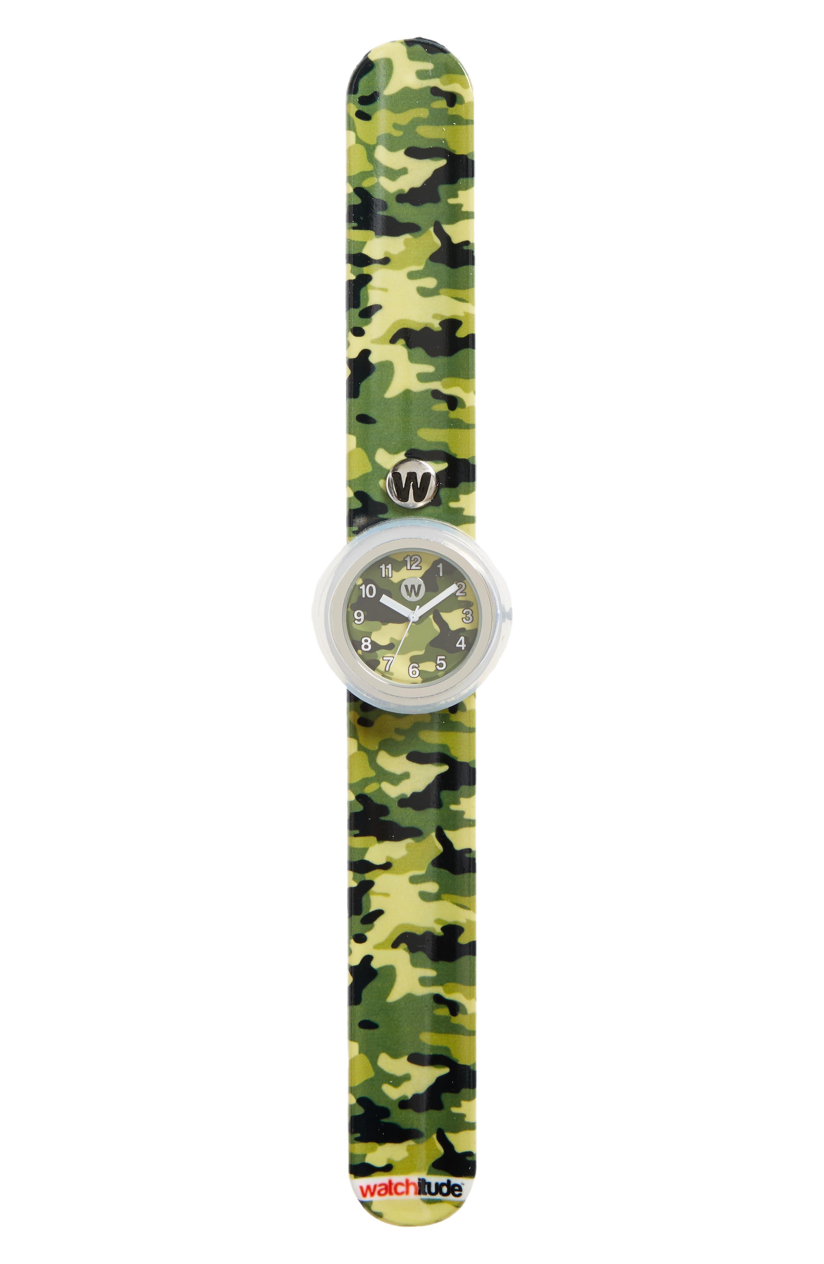 Camo Slap Watch,                         Main,                         color, GREEN