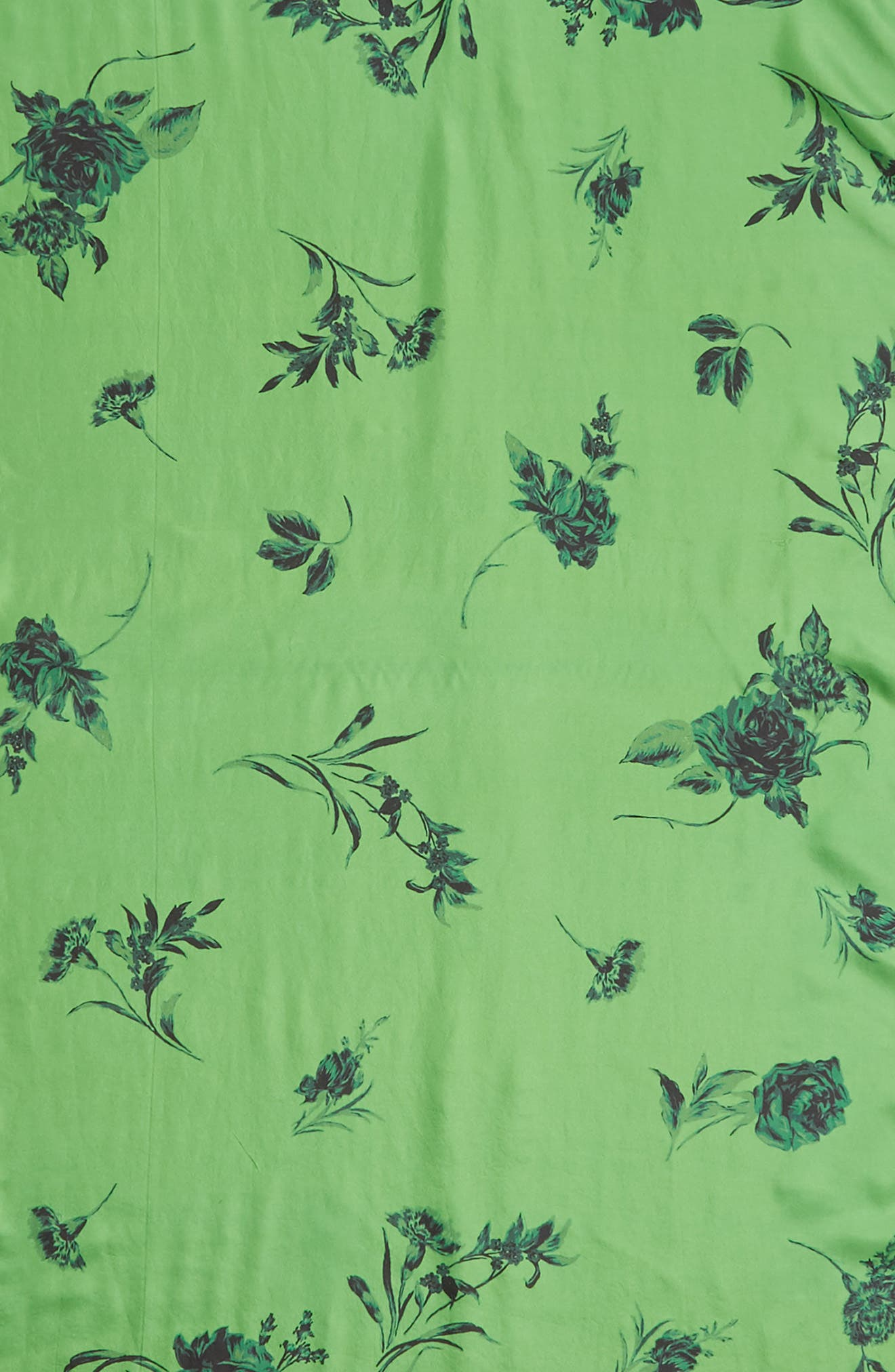 SOMETHING NAVY,                             Floral Silk Wrap,                             Alternate thumbnail 4, color,                             GREEN DIVINE BLOOM