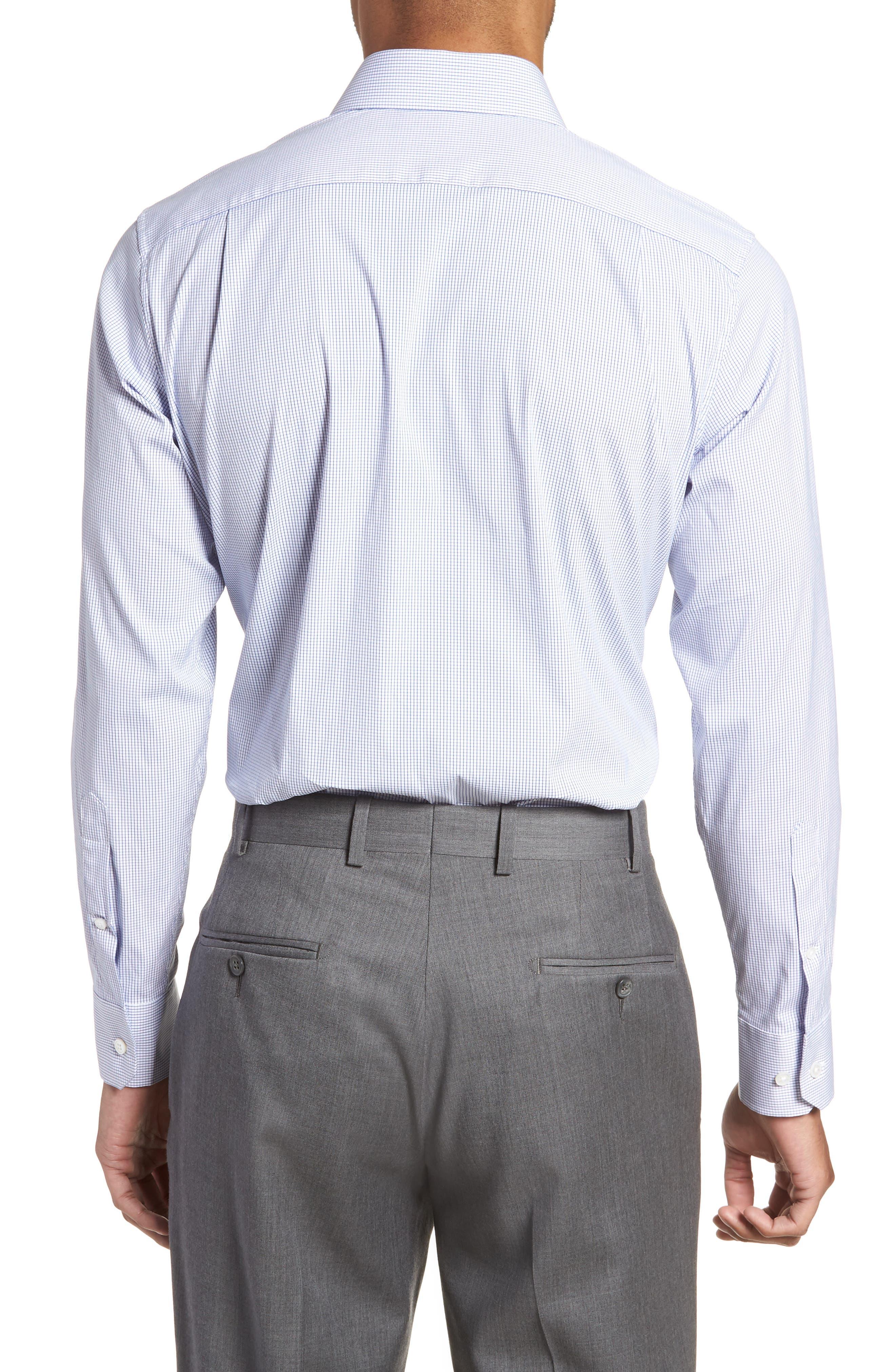 Jetsetter Slim Fit Stretch Check Dress Shirt,                             Alternate thumbnail 3, color,                             NAVY MINI CHECK