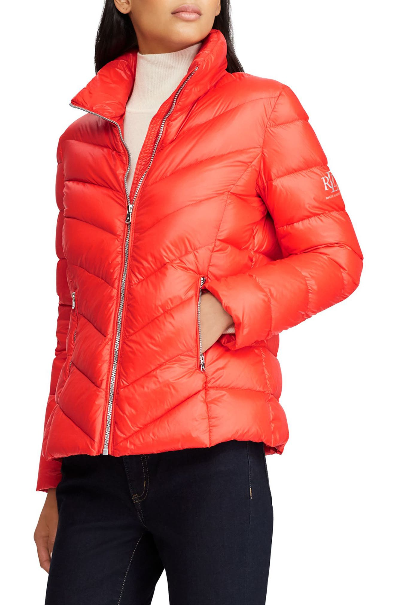 Lauren Ralph Lauren Chevron Quilted Packable Down Jacket, Orange