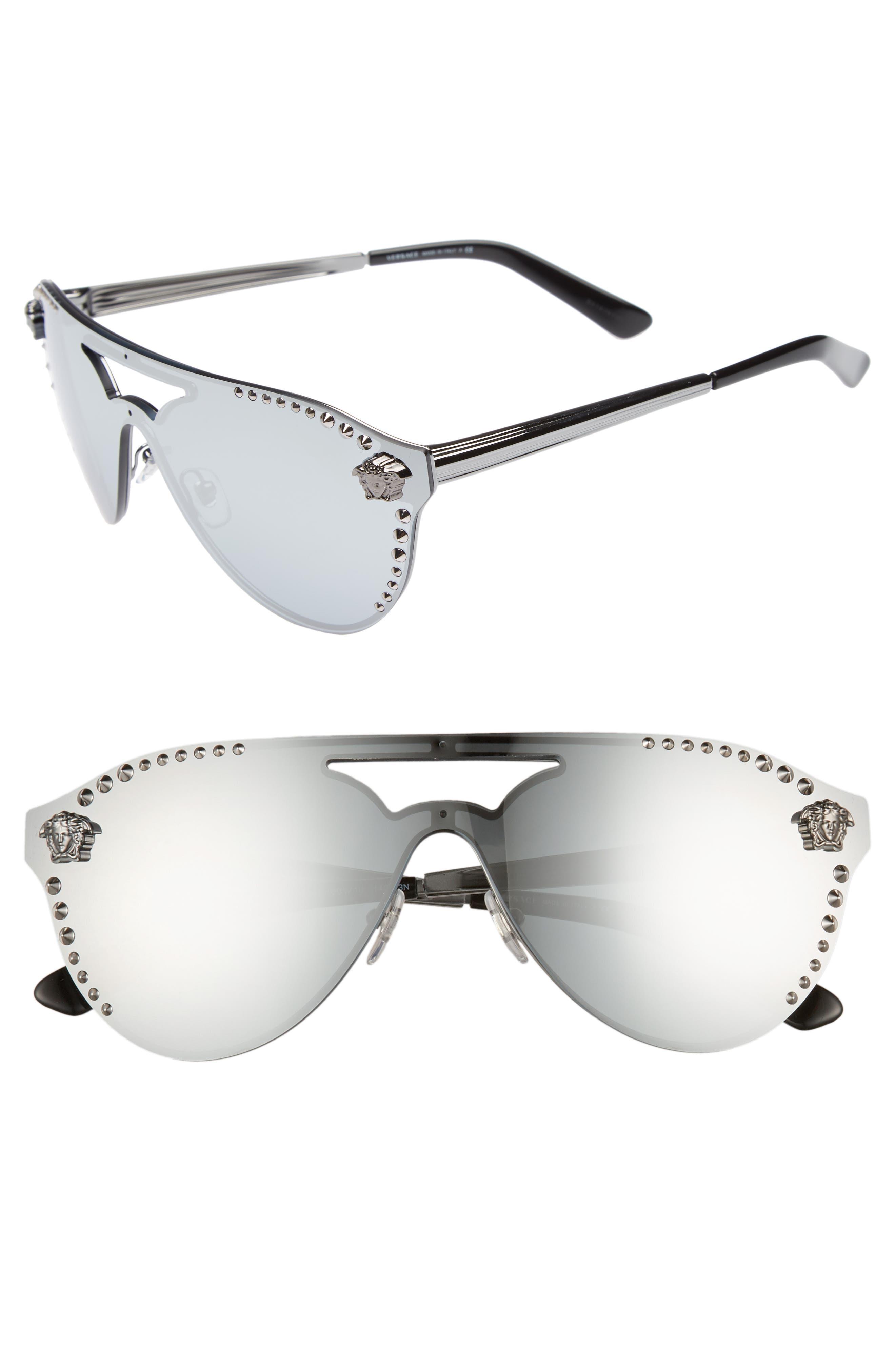 60mm Shield Mirrored Sunglasses,                             Main thumbnail 1, color,                             GUNMETAL MIRROR