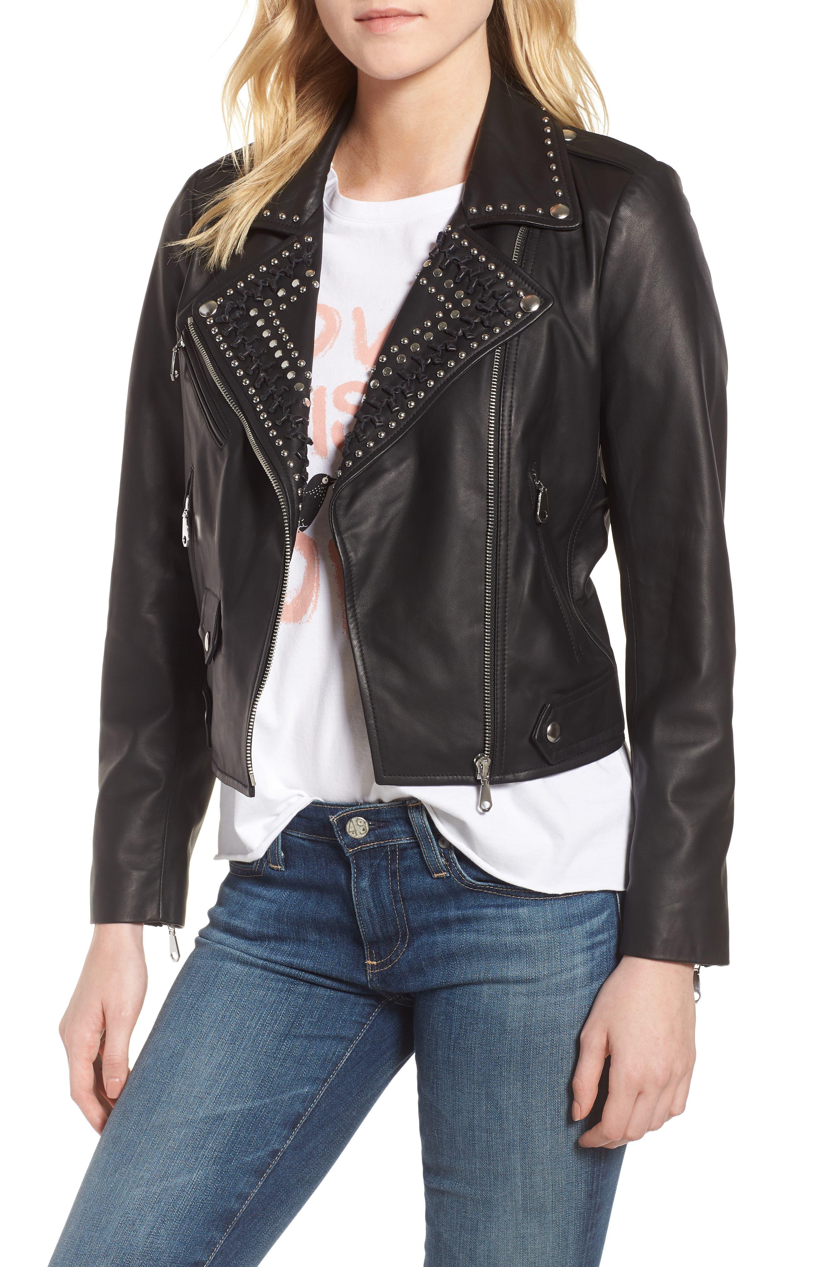 Wes Leather Moto Jacket,                             Main thumbnail 1, color,                             001