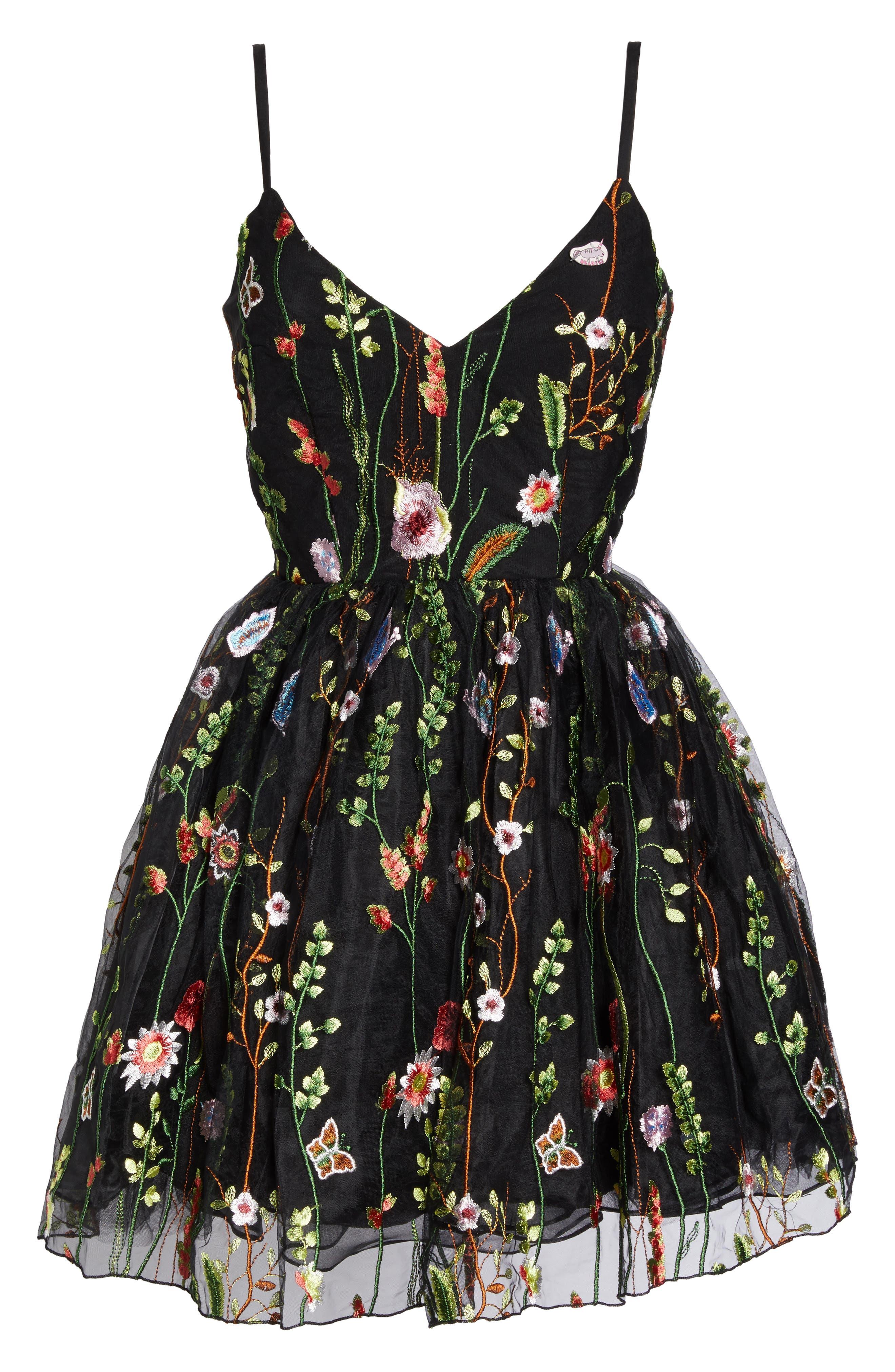 Embroidered Skater Dress,                             Alternate thumbnail 6, color,                             BLACK/MULTI