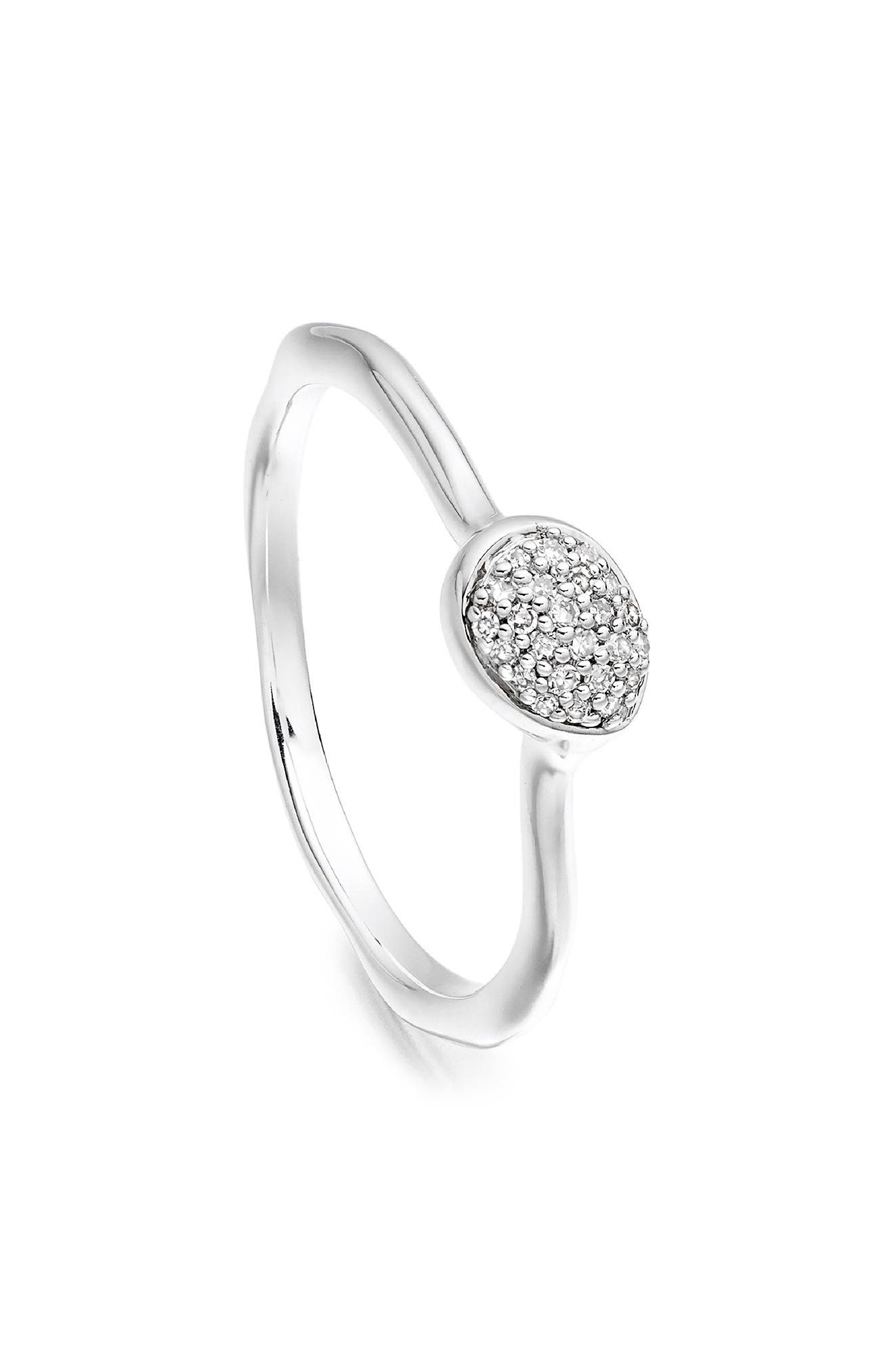 Siren Small Pavé Diamond Stacking Ring,                             Alternate thumbnail 2, color,                             SILVER/ DIAMOND