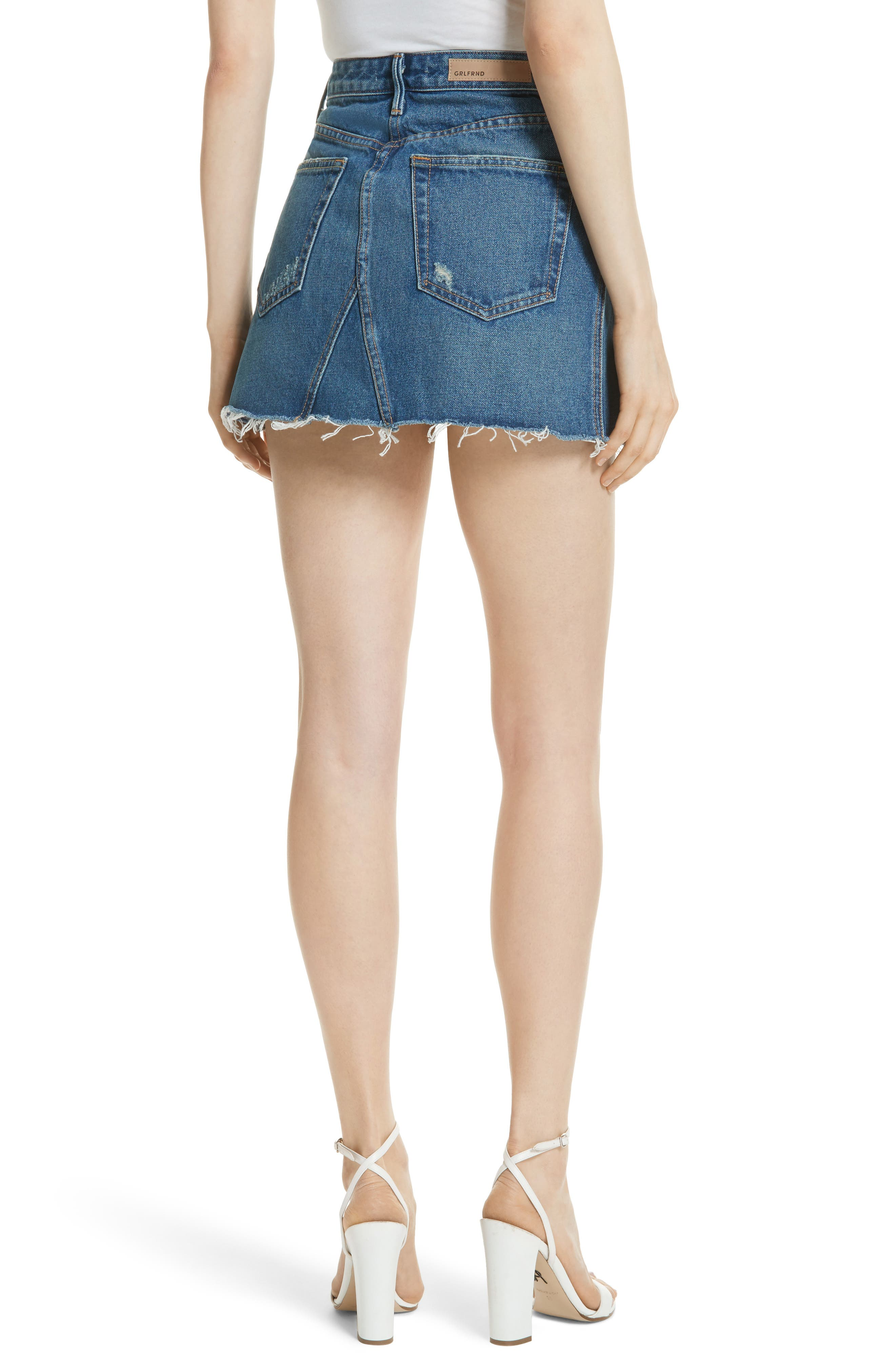 Eva Denim A-Frame Gusset Skirt,                             Alternate thumbnail 2, color,                             WALK THIS WAY
