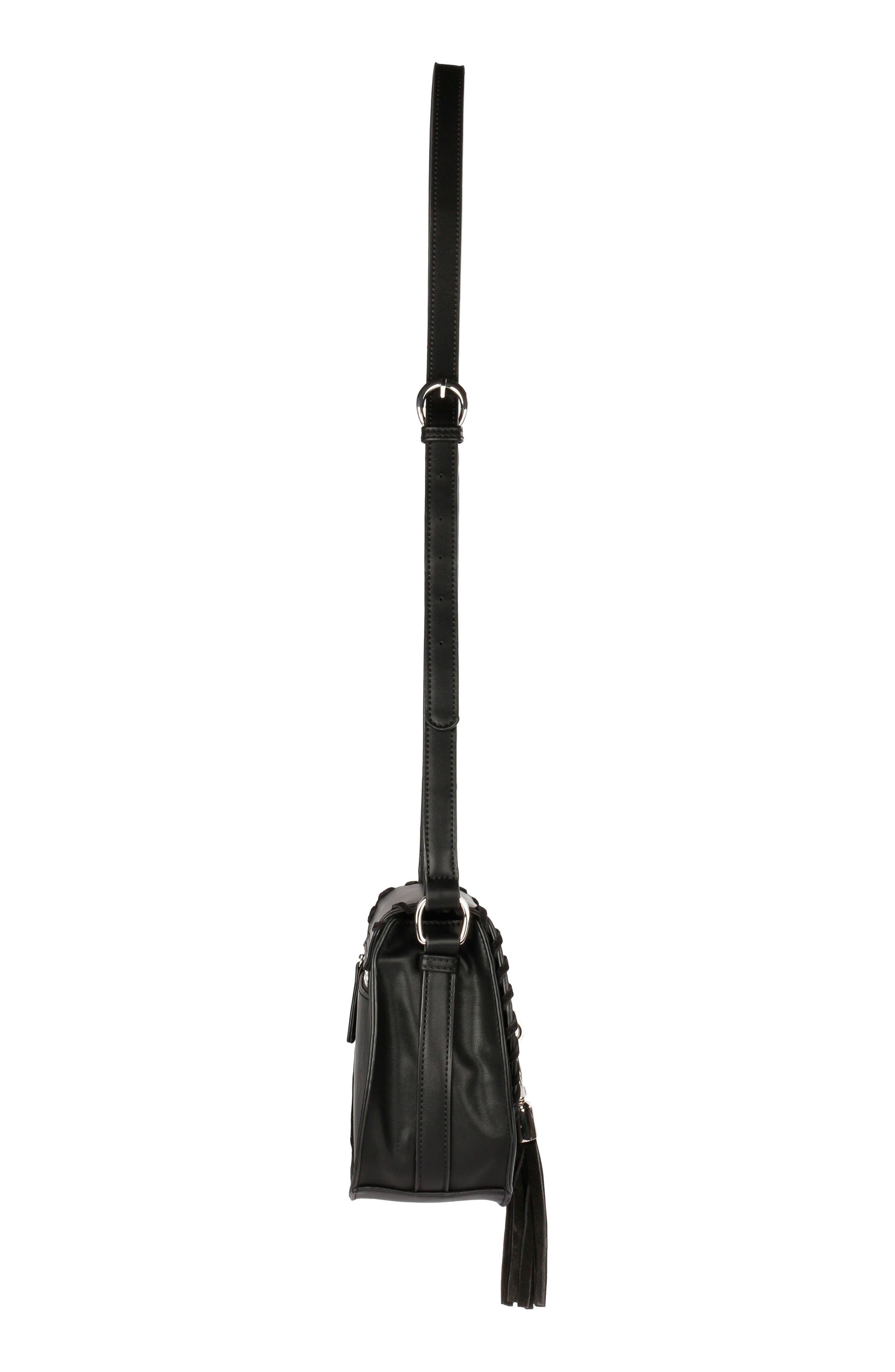 Céline Dion Espressivo Faux Leather Saddle Bag,                             Alternate thumbnail 4, color,                             001