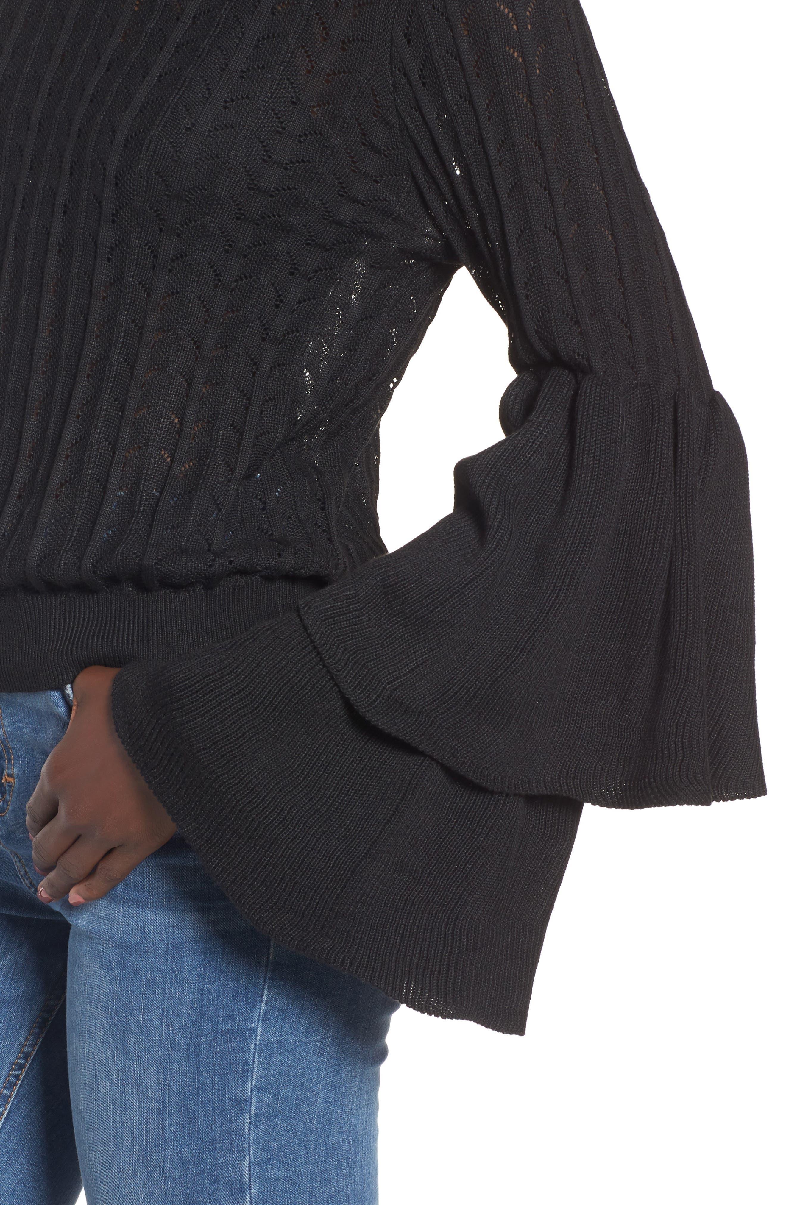 Molly Ruffle Sweater,                             Alternate thumbnail 4, color,                             001