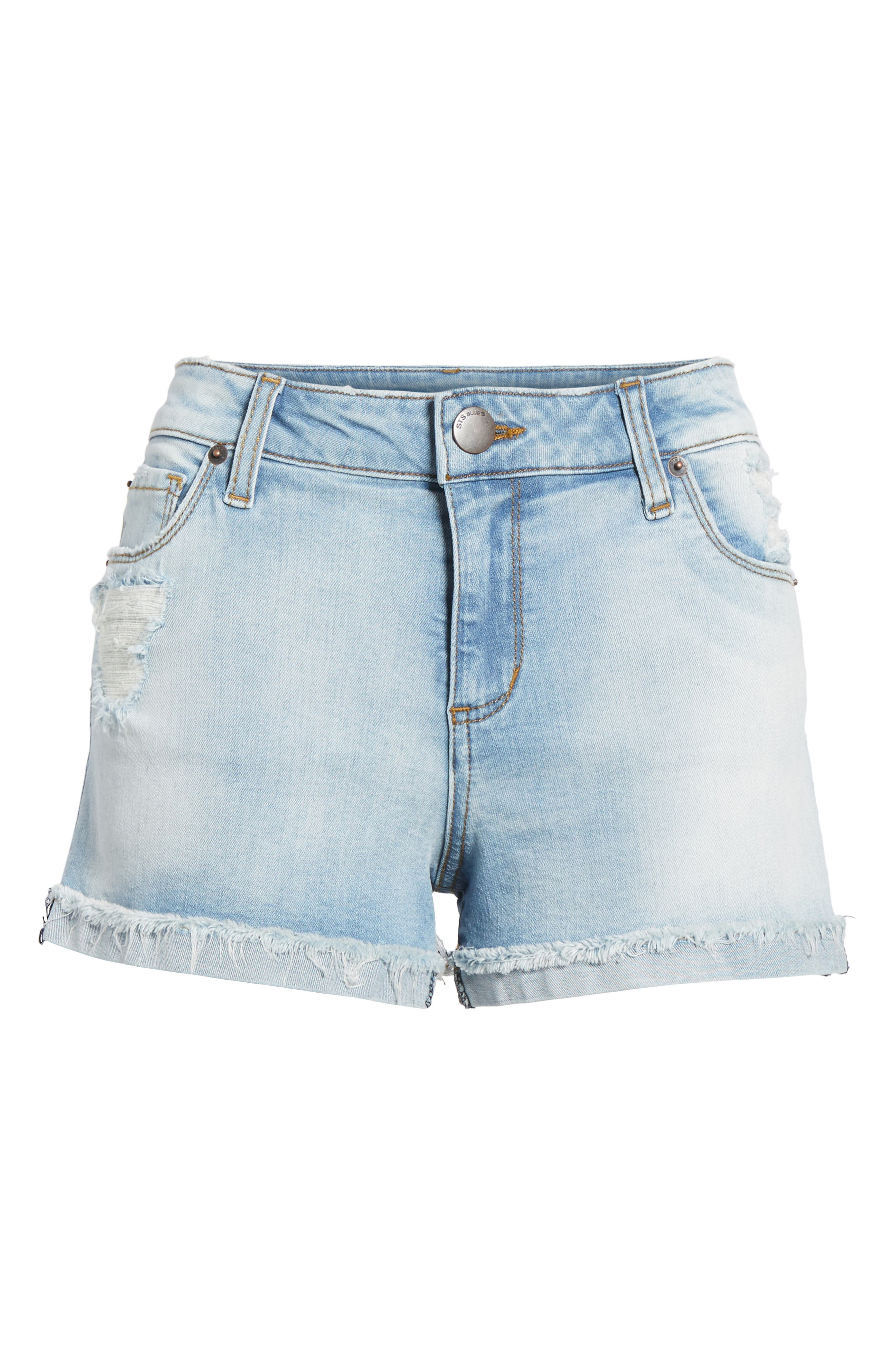 Distressed Denim Boyfriend Shorts,                             Alternate thumbnail 6, color,                             403