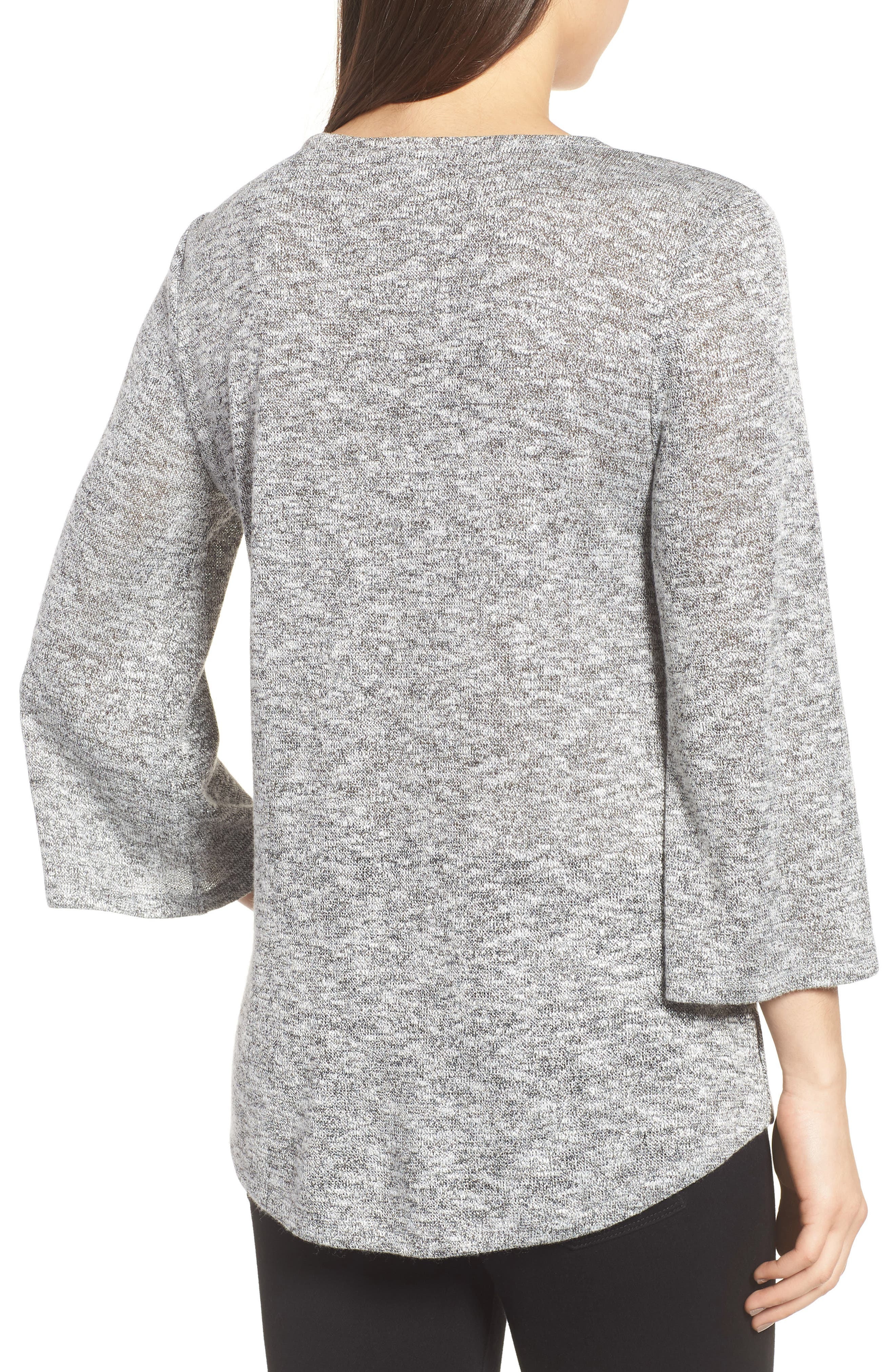 Sparkle Heathered V-Neck Top,                             Alternate thumbnail 2, color,                             050