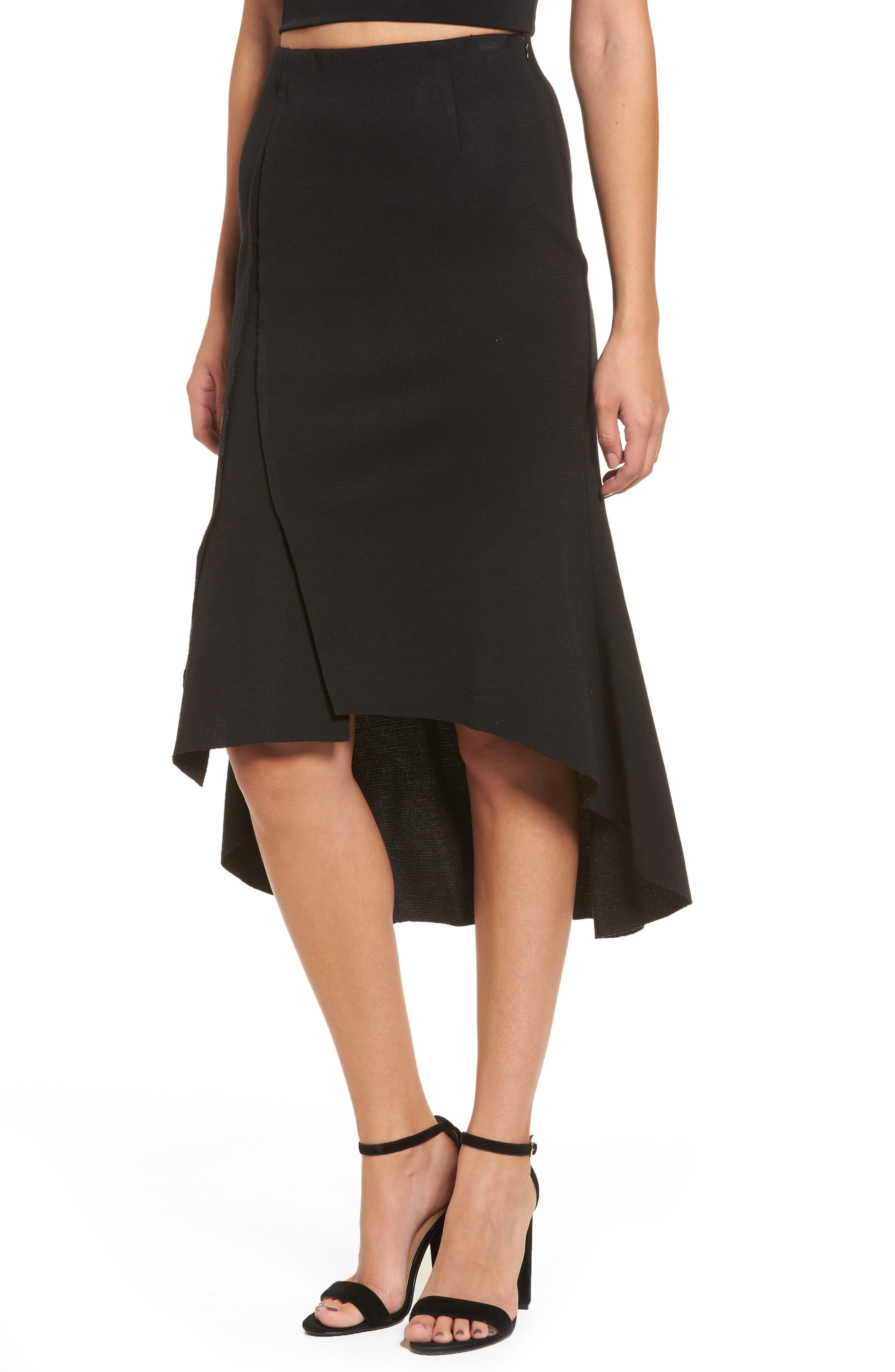 Ruffle High/Low Skirt,                             Main thumbnail 1, color,                             001