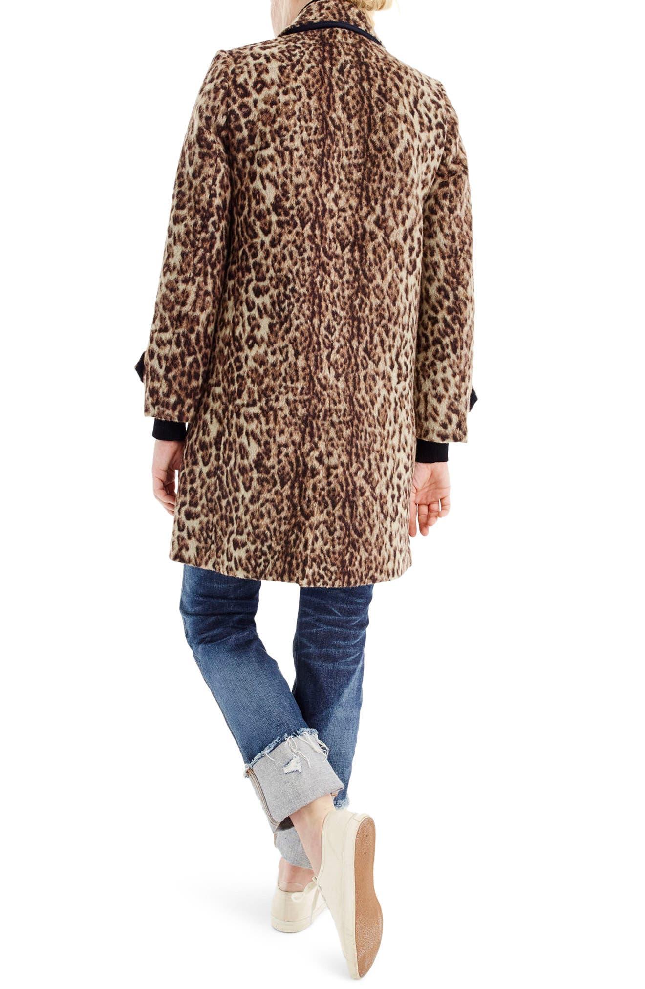 J.CREW,                             Double Leopard Topcoat,                             Alternate thumbnail 2, color,                             SNOW LEOPARD