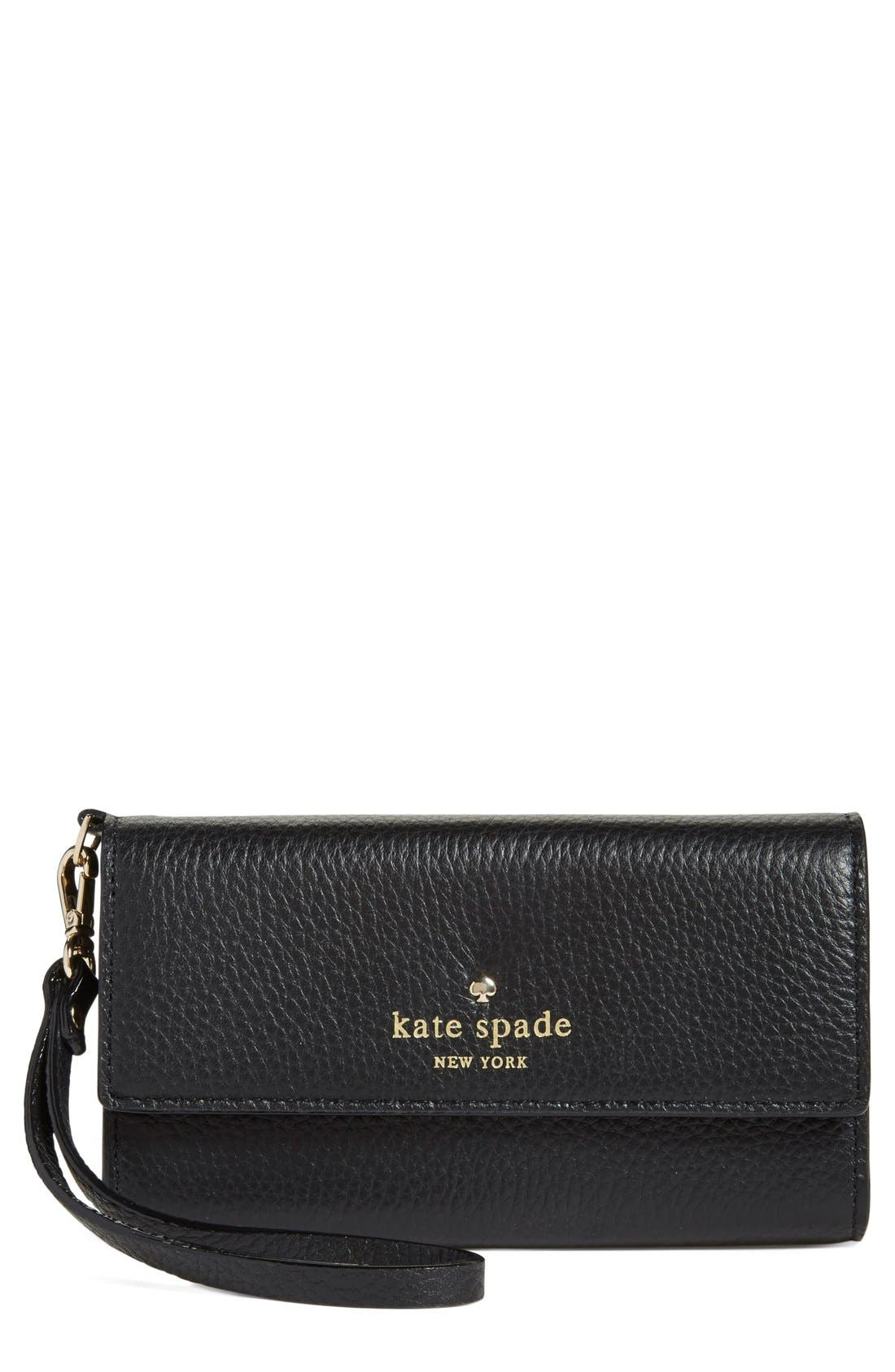 'spencer court' leather phone wristlet,                         Main,                         color, 001